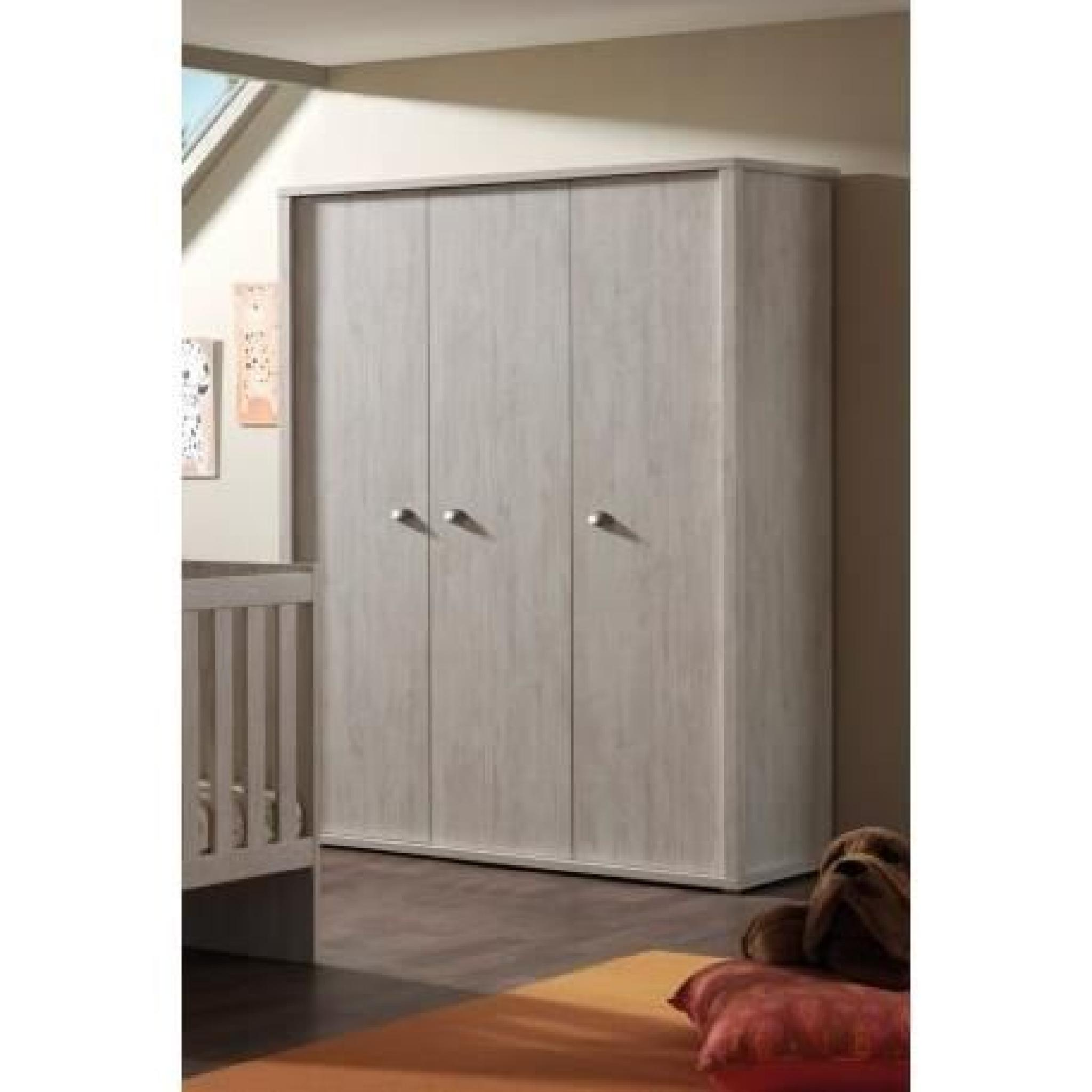 armoire de rangement 3 portes 150cm moderne coloris ch ne. Black Bedroom Furniture Sets. Home Design Ideas