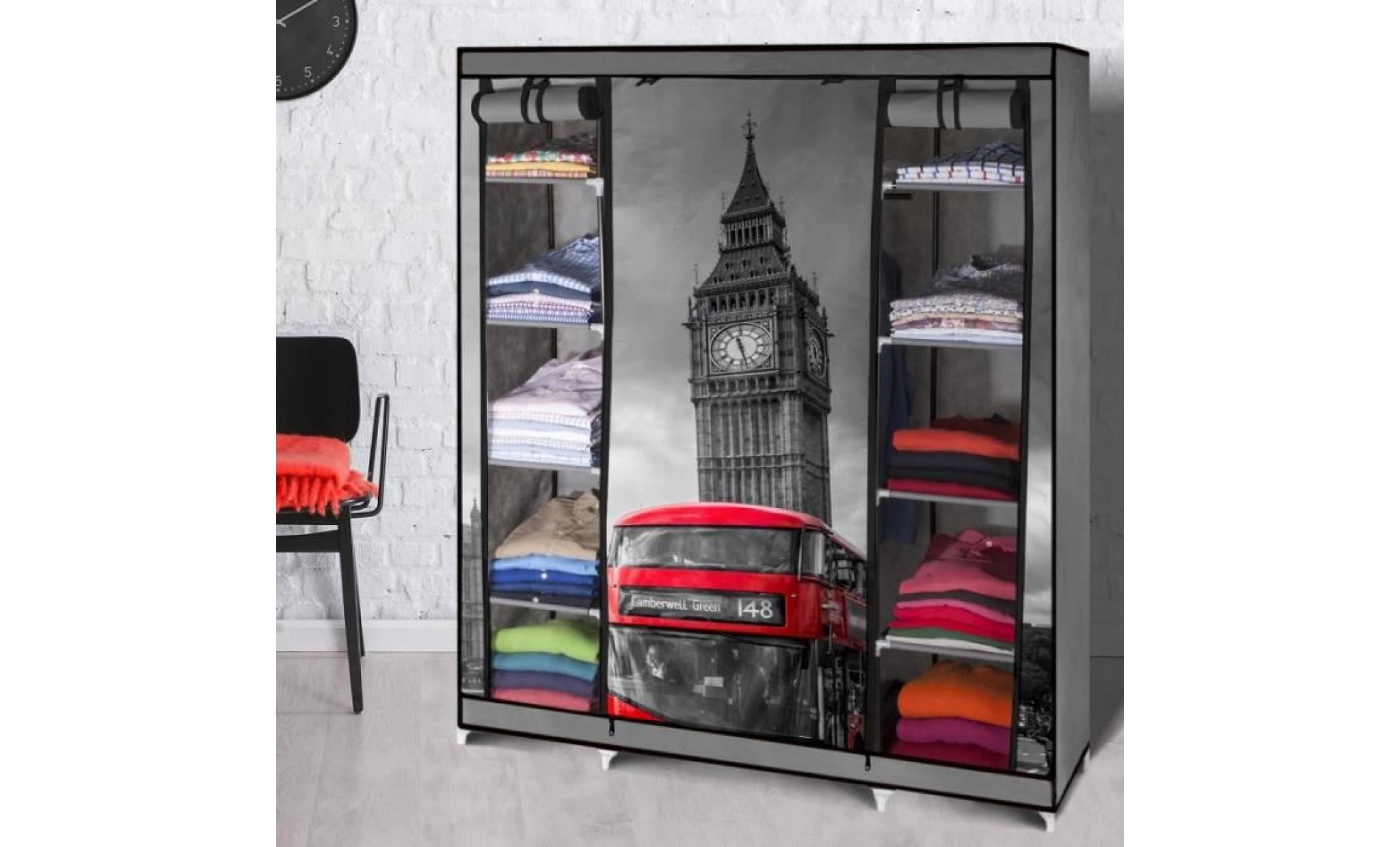 armoire de rangement londres dressing penderie xxl tissu - Achat/Vente armoire pas cher ...