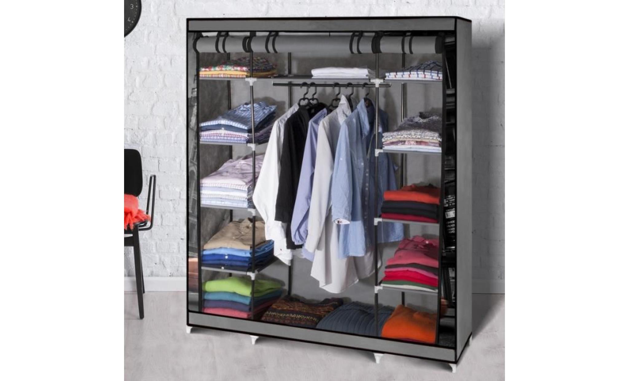 Armoire De Rangement New York Dressing Penderie Xxl Tissu Achat Vente Armoire Pas Cher Couleur Et Design Fr