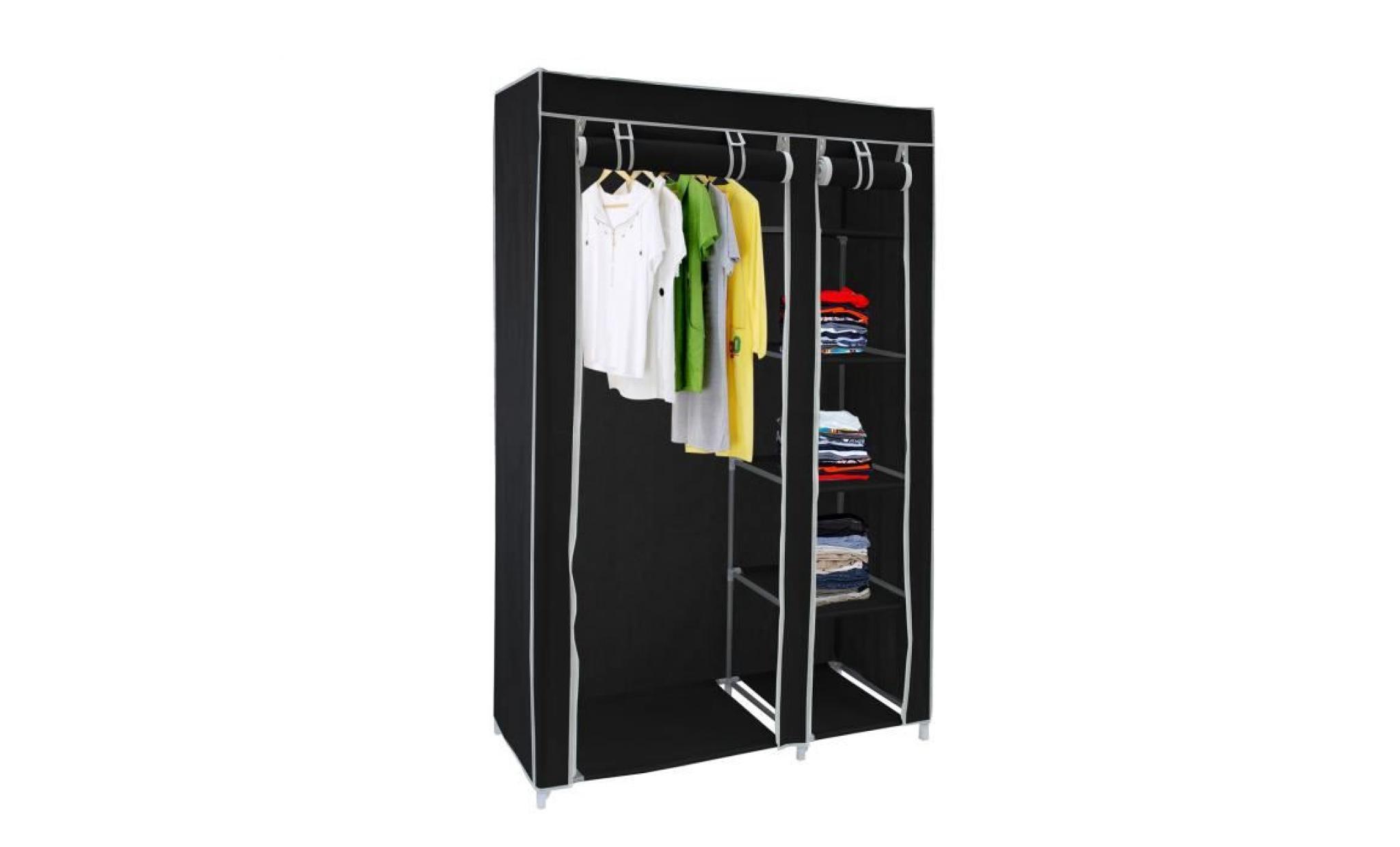 armoire penderie noire en tissu achat vente armoire de chambre pas cher couleur et. Black Bedroom Furniture Sets. Home Design Ideas