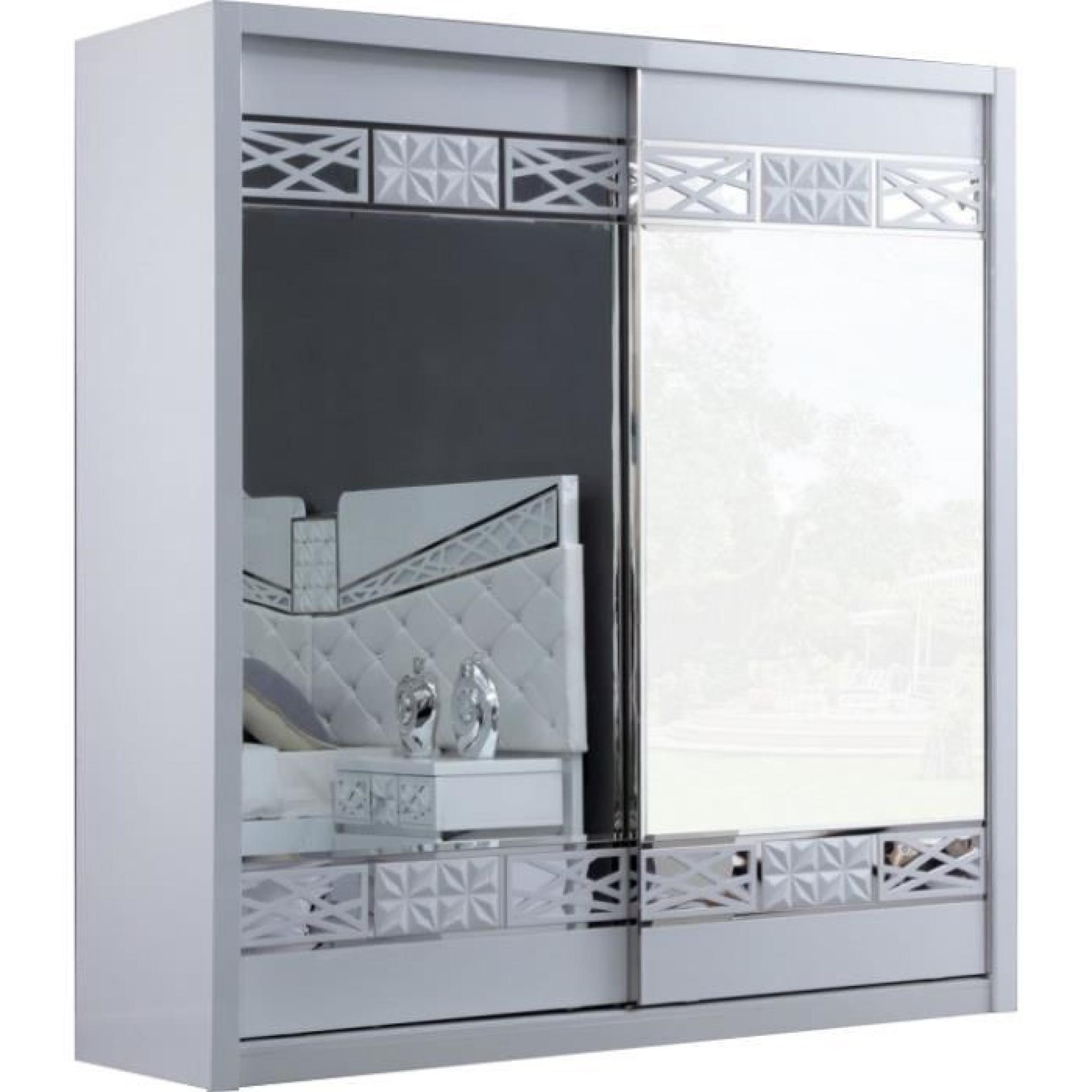 armoire design 2 portes coulissantes laqu blanc et chrom. Black Bedroom Furniture Sets. Home Design Ideas