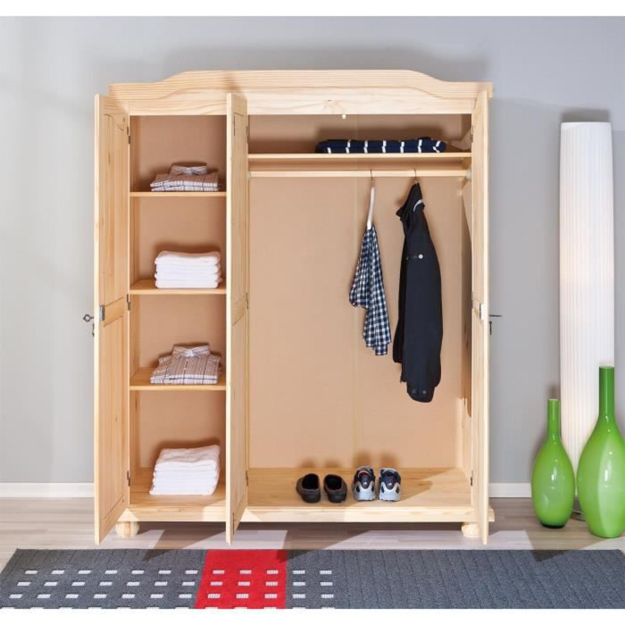 armoire design rustique 3 portes en bois massif achat vente armoire de chambre pas cher. Black Bedroom Furniture Sets. Home Design Ideas