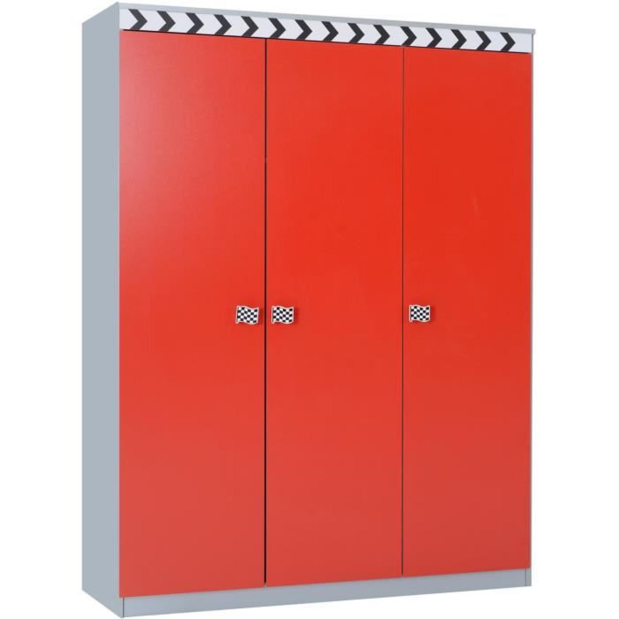 armoire enfant 3 portes f1 coloris rouge achat vente armoire de chambre pas cher couleur et. Black Bedroom Furniture Sets. Home Design Ideas