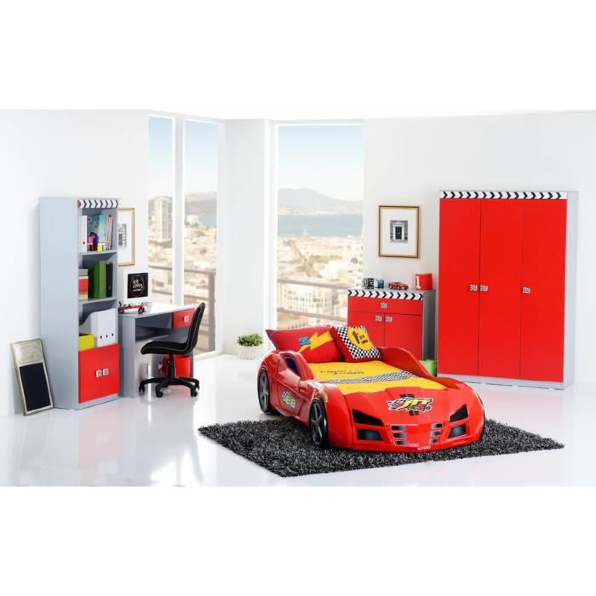 armoire enfant 3 portes f1 coloris rouge achat vente. Black Bedroom Furniture Sets. Home Design Ideas