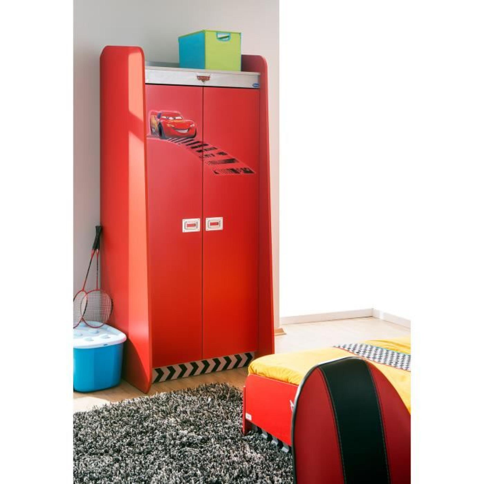 armoire enfant 2 portes coloris rouge disney cars achat vente armoire de chambre pas cher. Black Bedroom Furniture Sets. Home Design Ideas