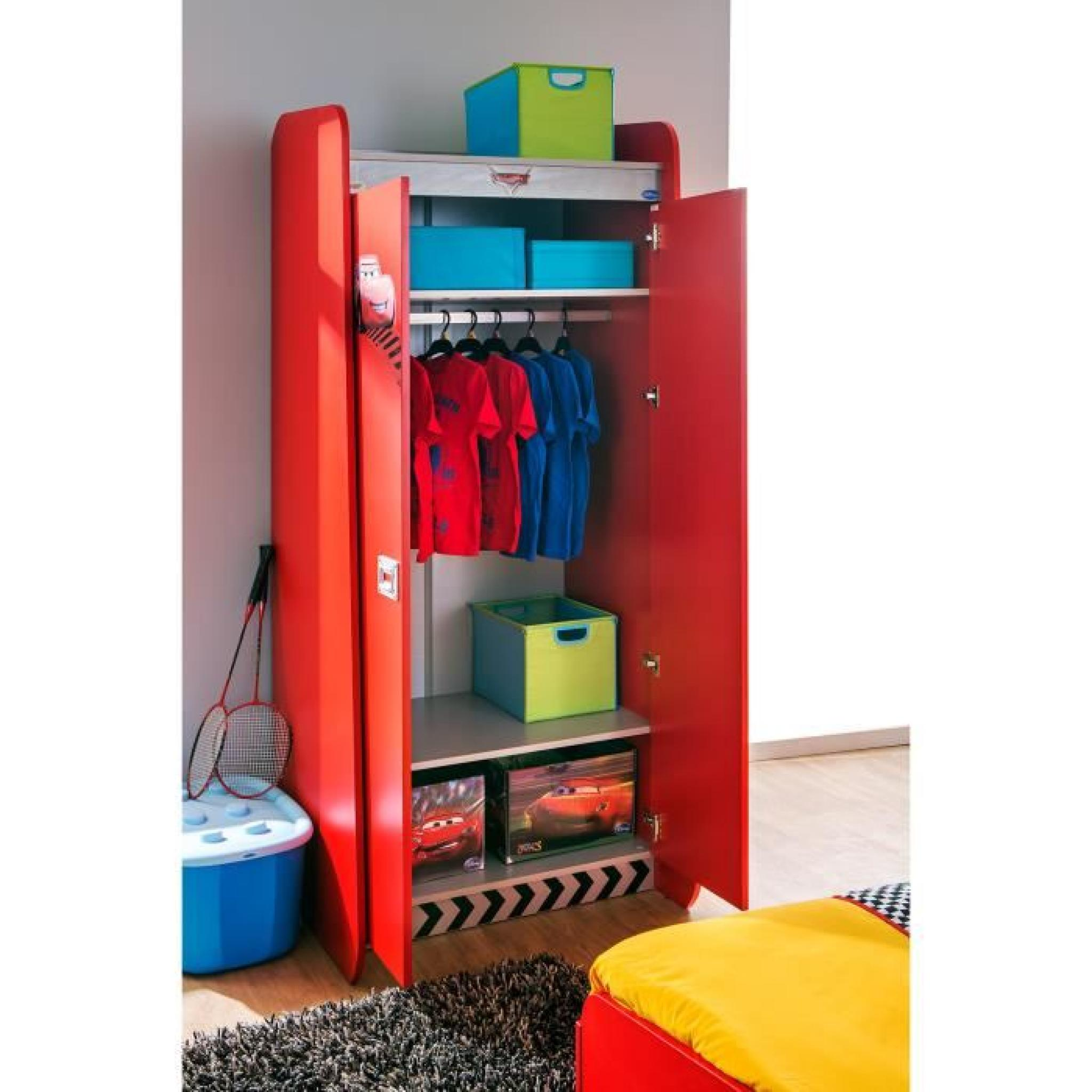 armoire enfant 2 portes coloris rouge disney cars. Black Bedroom Furniture Sets. Home Design Ideas