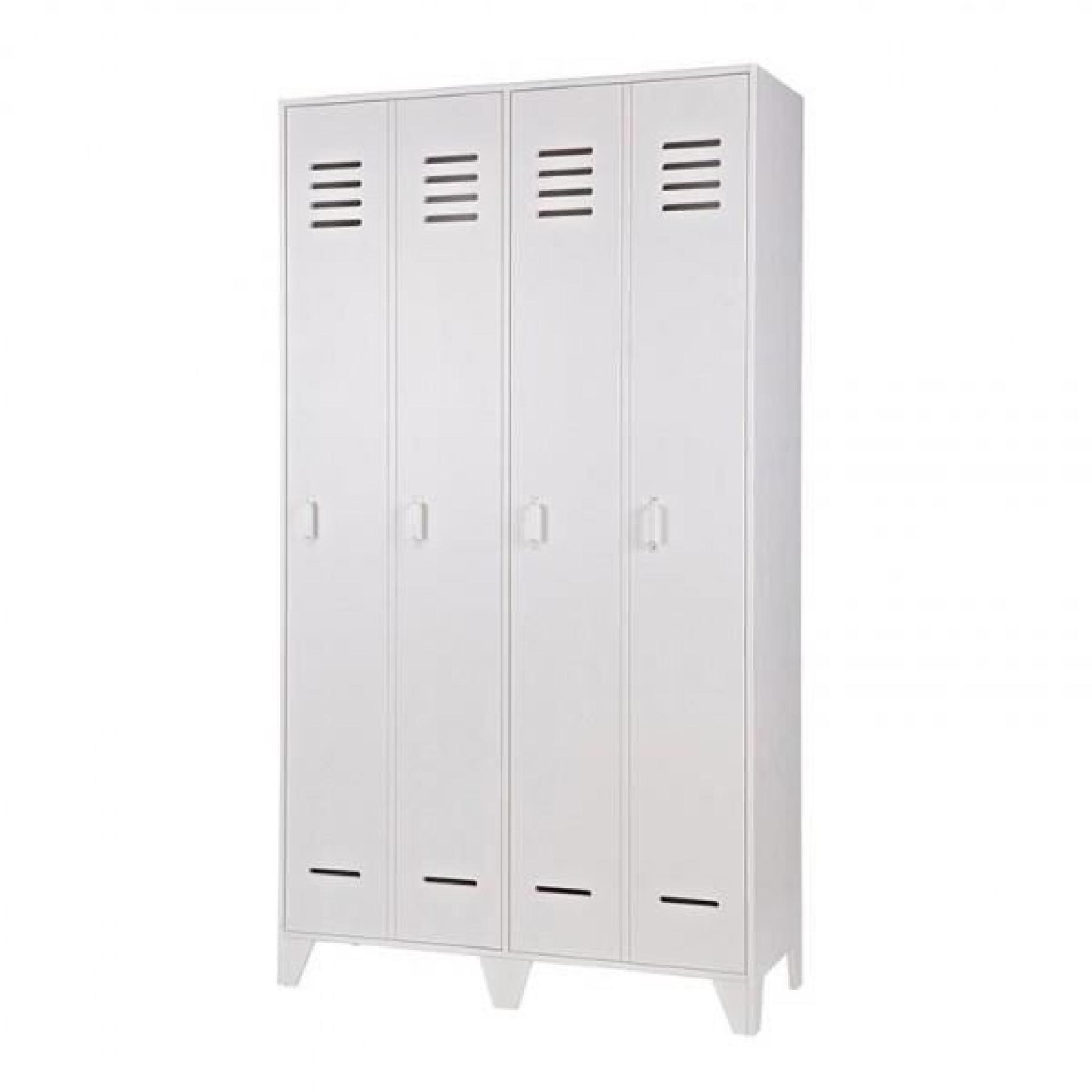 armoire enfant casier 2 portes en pin massif blanc achat vente armoire de chambre pas cher. Black Bedroom Furniture Sets. Home Design Ideas
