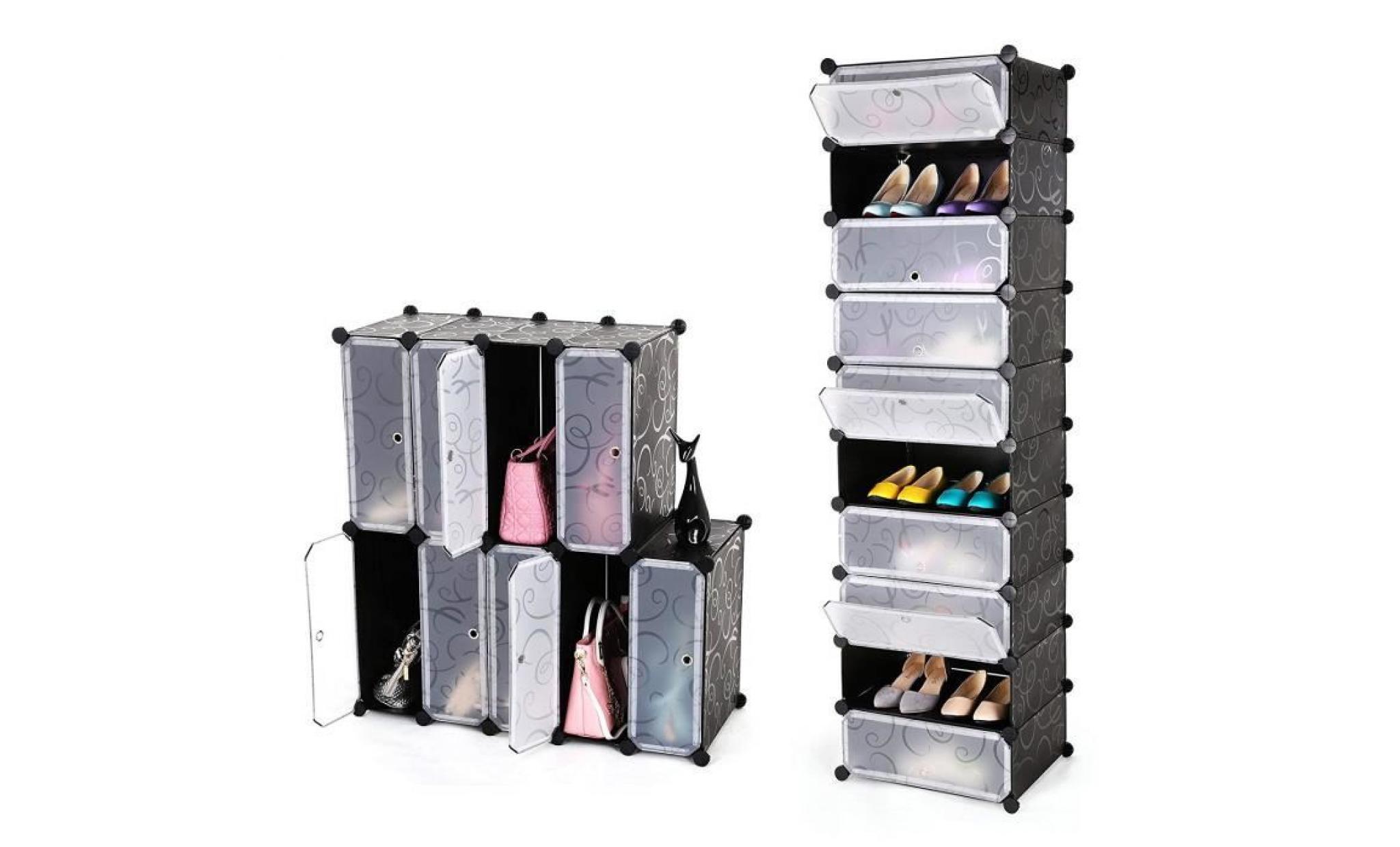 songmics® armoire 10 couches etagère à porte chaussures facile à monter étagère de rangement ...