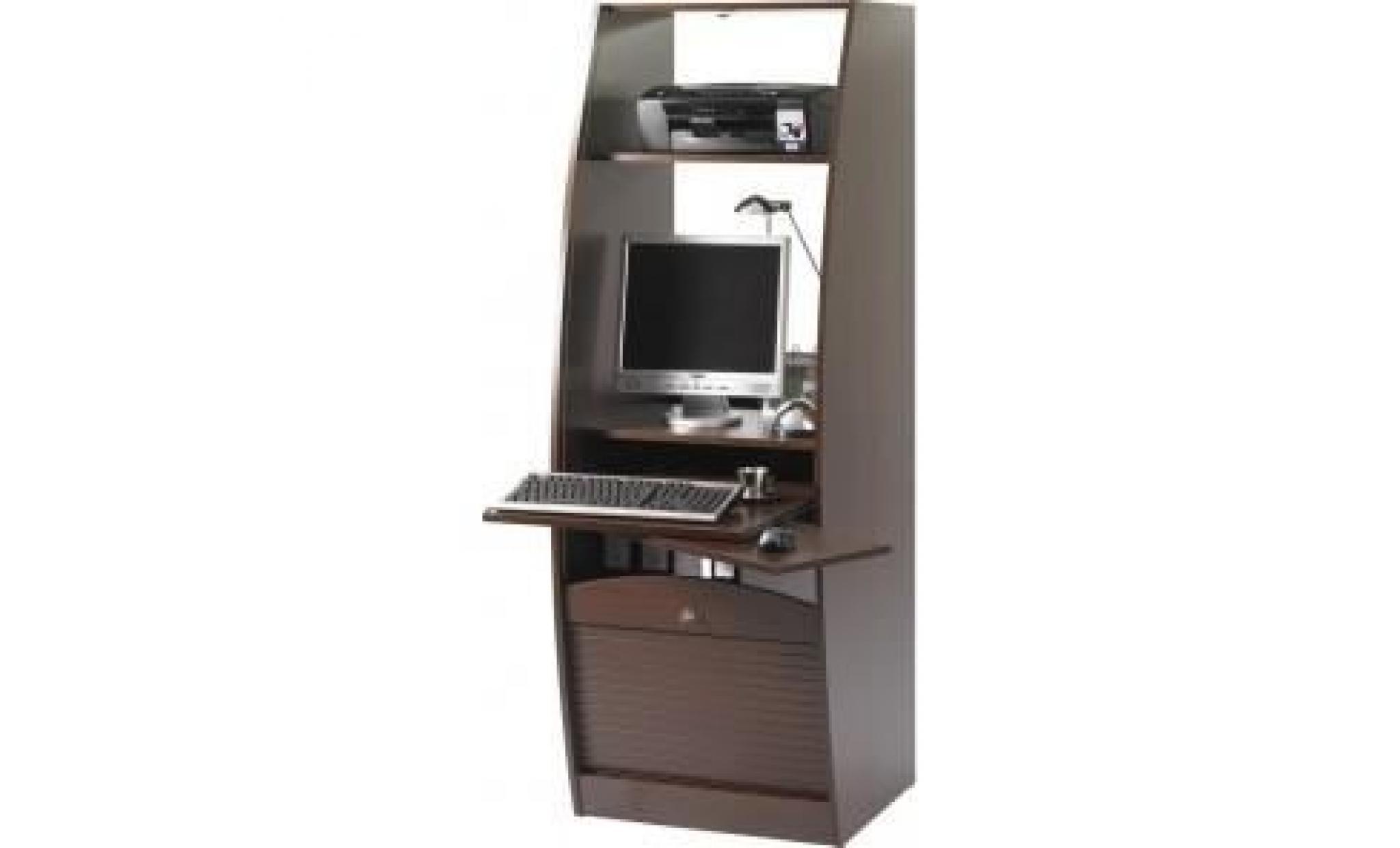 Armoire Informatique Style Contemporain L 60 Cm Decor Wenge