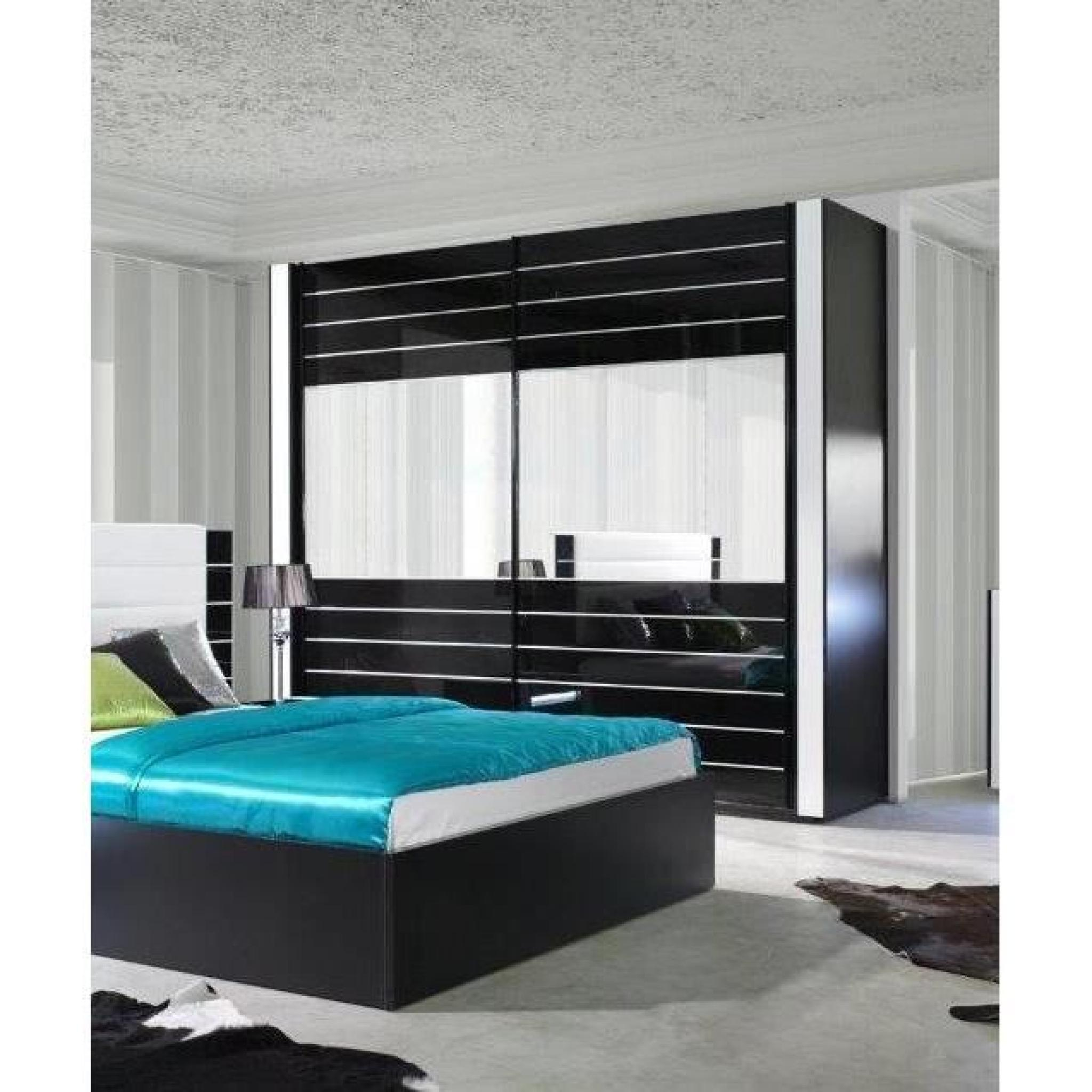 armoire lina noir et blanche laqu e tout quip e meuble. Black Bedroom Furniture Sets. Home Design Ideas