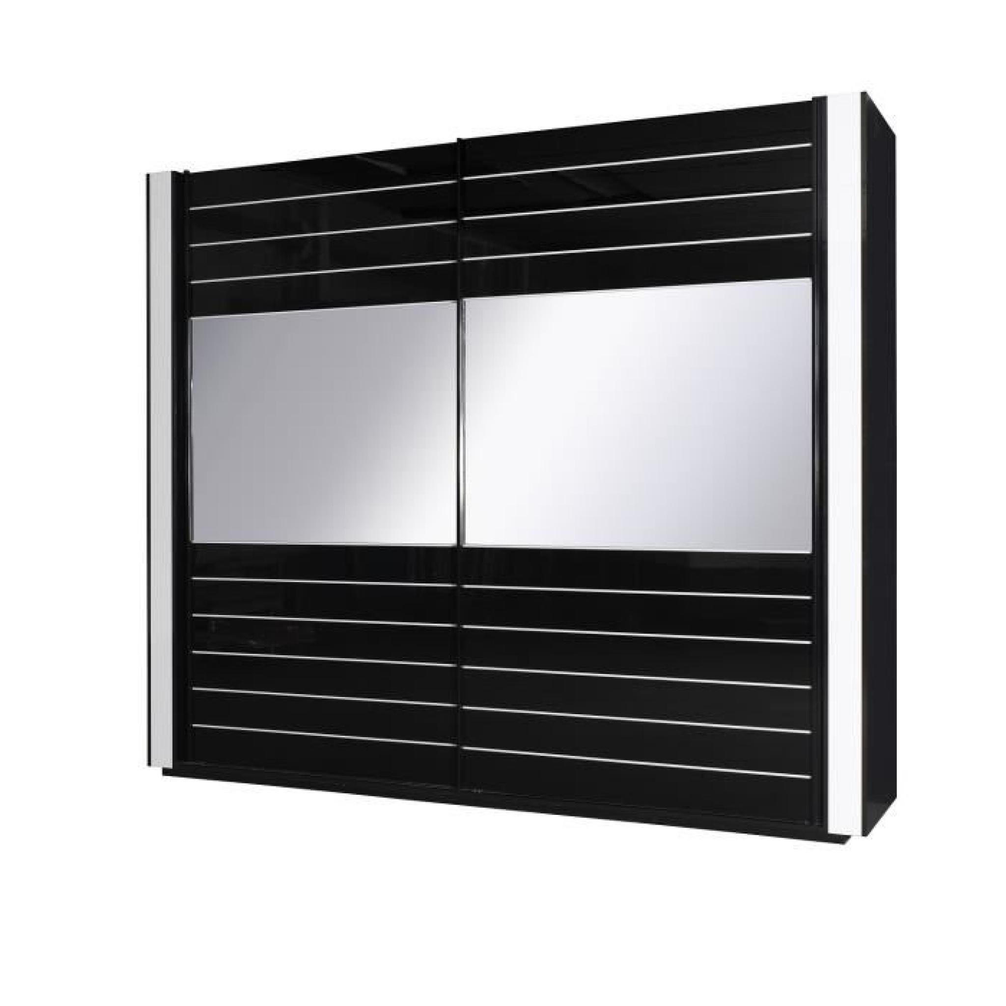 Armoire lina noir et blanche laqu e tout quip e meuble for Armoire de chambre a coucher pas cher