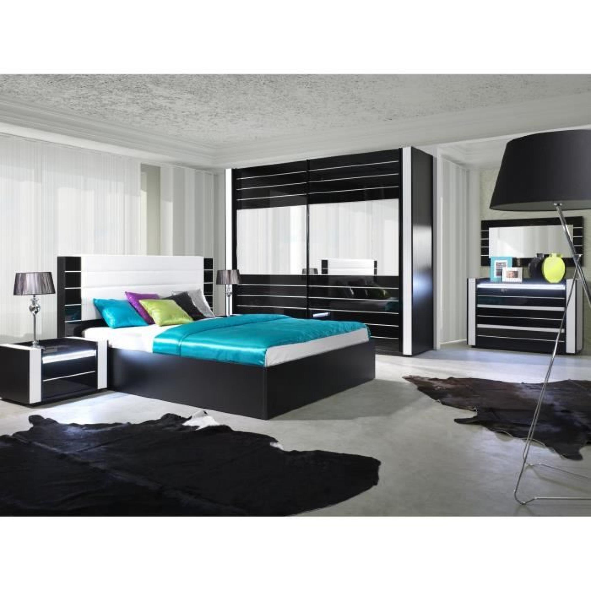 Armoire lina noir et blanche laqu e tout quip e meuble for Chambre a coucher adulte blanche