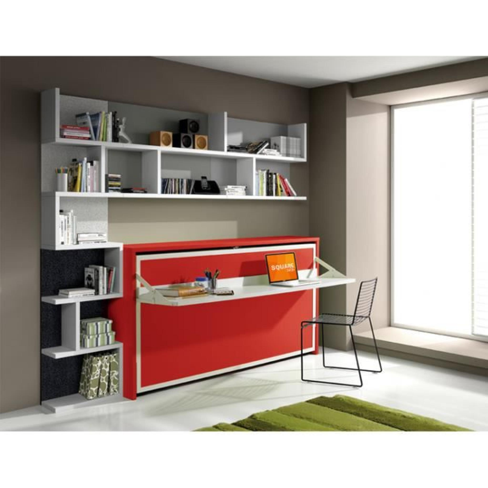 armoire lit escamotable fleet avec bureau 90x190cm achat. Black Bedroom Furniture Sets. Home Design Ideas