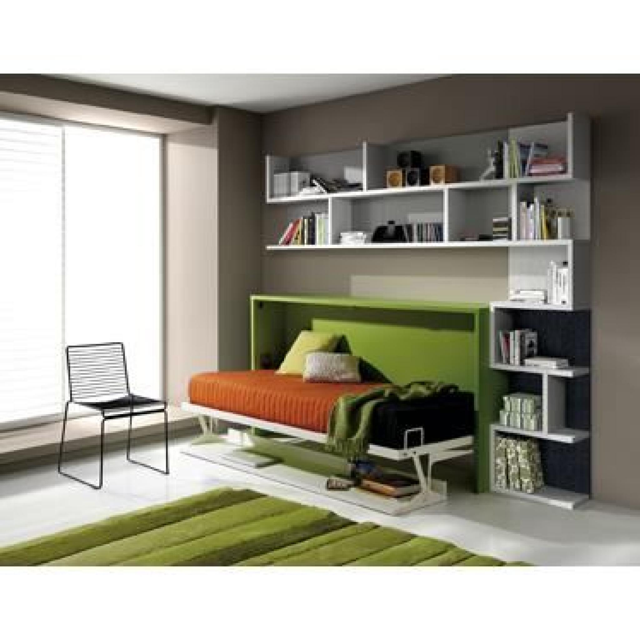 armoire lit escamotable fleet avec bureau 90x190cm achat vente lit escamotable pas cher. Black Bedroom Furniture Sets. Home Design Ideas