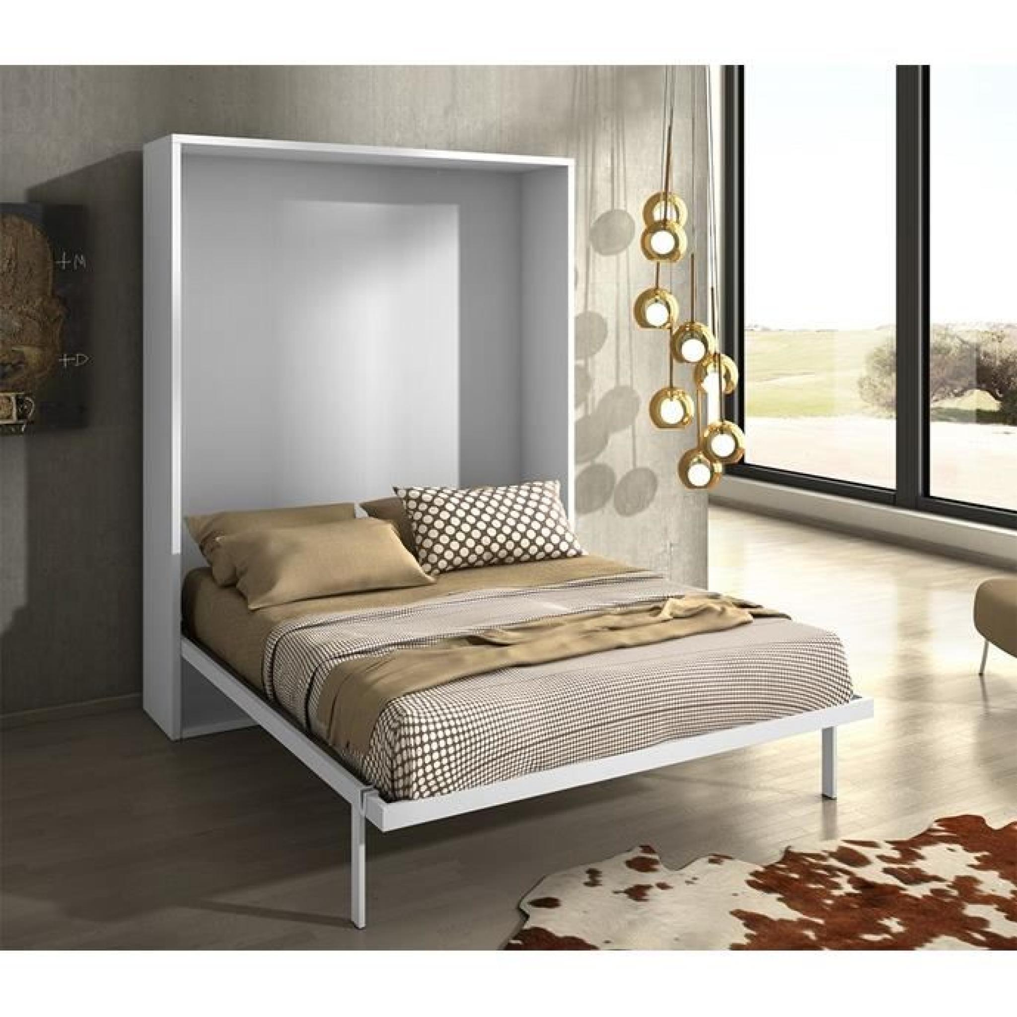armoire lit escamotable joy ch ne blanc 140x200 achat. Black Bedroom Furniture Sets. Home Design Ideas