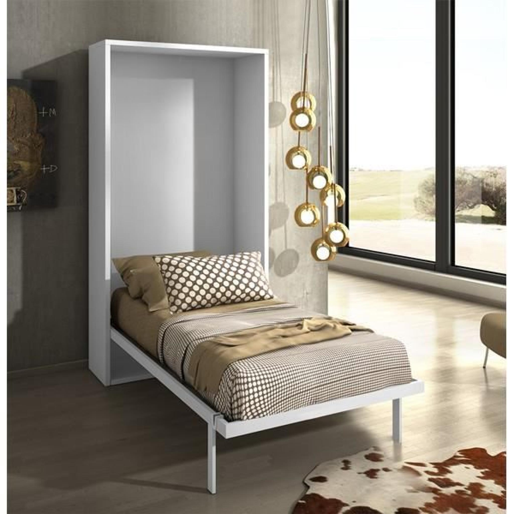 armoire lit escamotable joy ch ne blanc 90x200 achat vente lit escamotable pas cher couleur. Black Bedroom Furniture Sets. Home Design Ideas