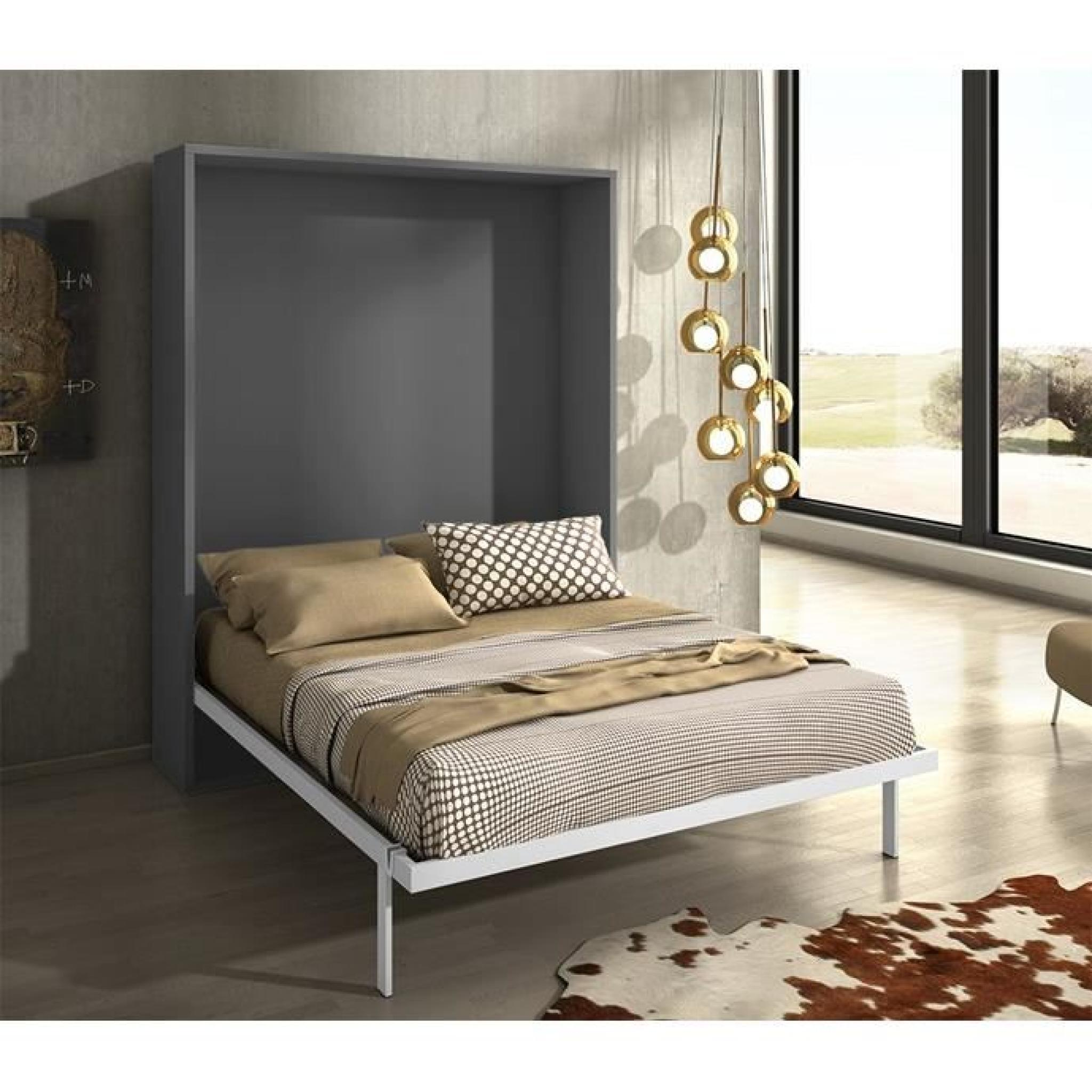 armoire lit escamotable joy gris mat 160x200 achat vente lit escamotable pas cher couleur et. Black Bedroom Furniture Sets. Home Design Ideas