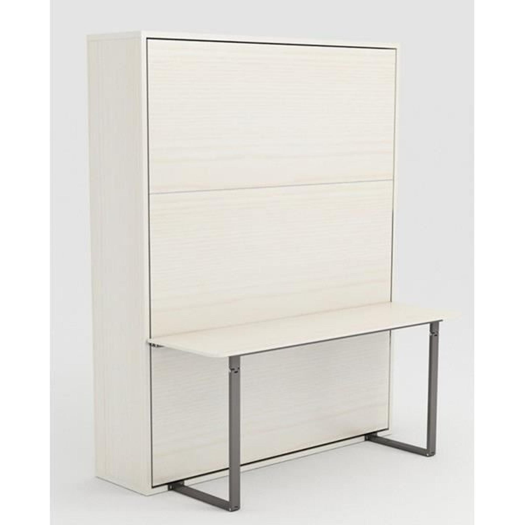 armoire lit escamotable stone 160x200 blanc bureau achat. Black Bedroom Furniture Sets. Home Design Ideas