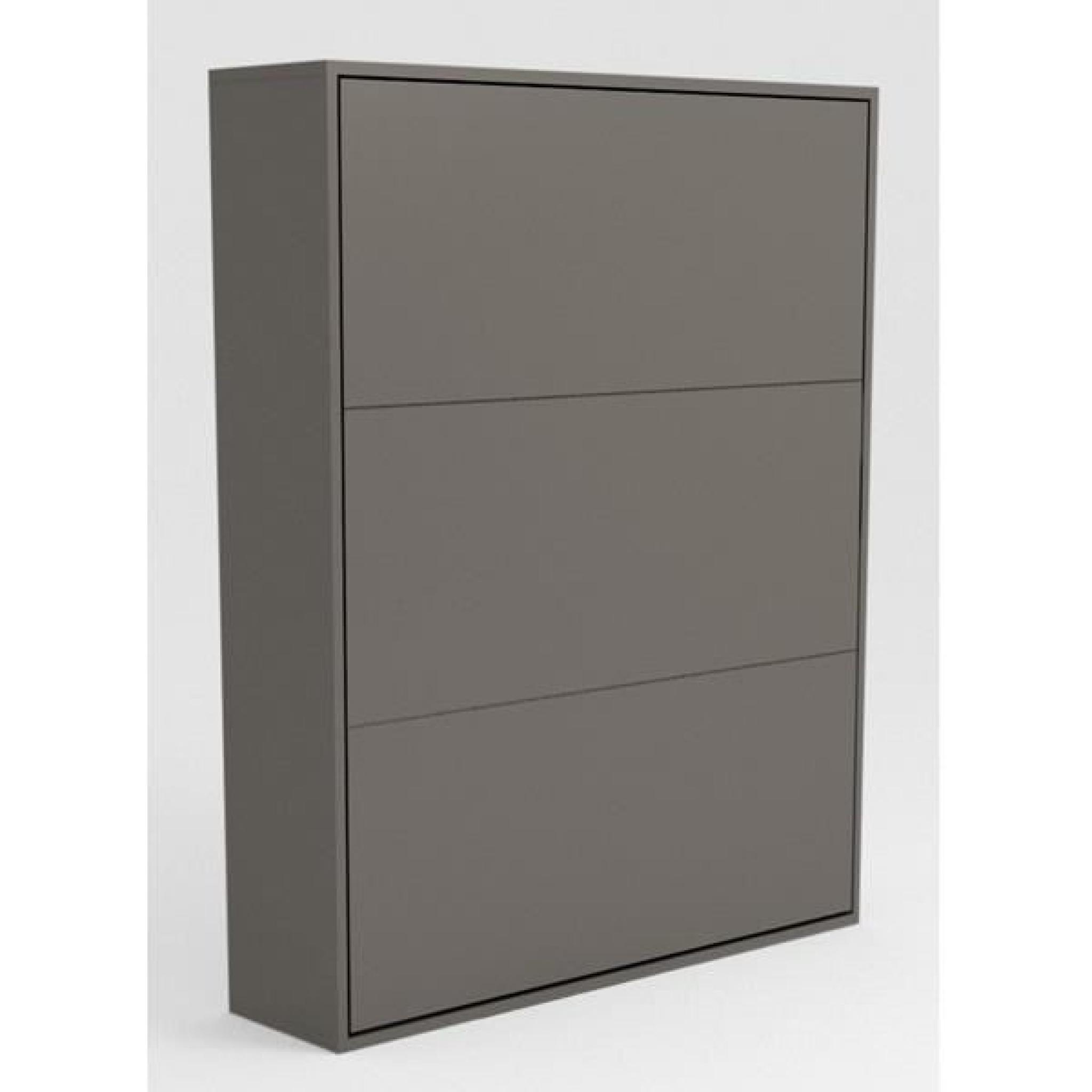armoire lit escamotable stone 160x200 gris achat vente lit escamotable pas cher couleur et. Black Bedroom Furniture Sets. Home Design Ideas