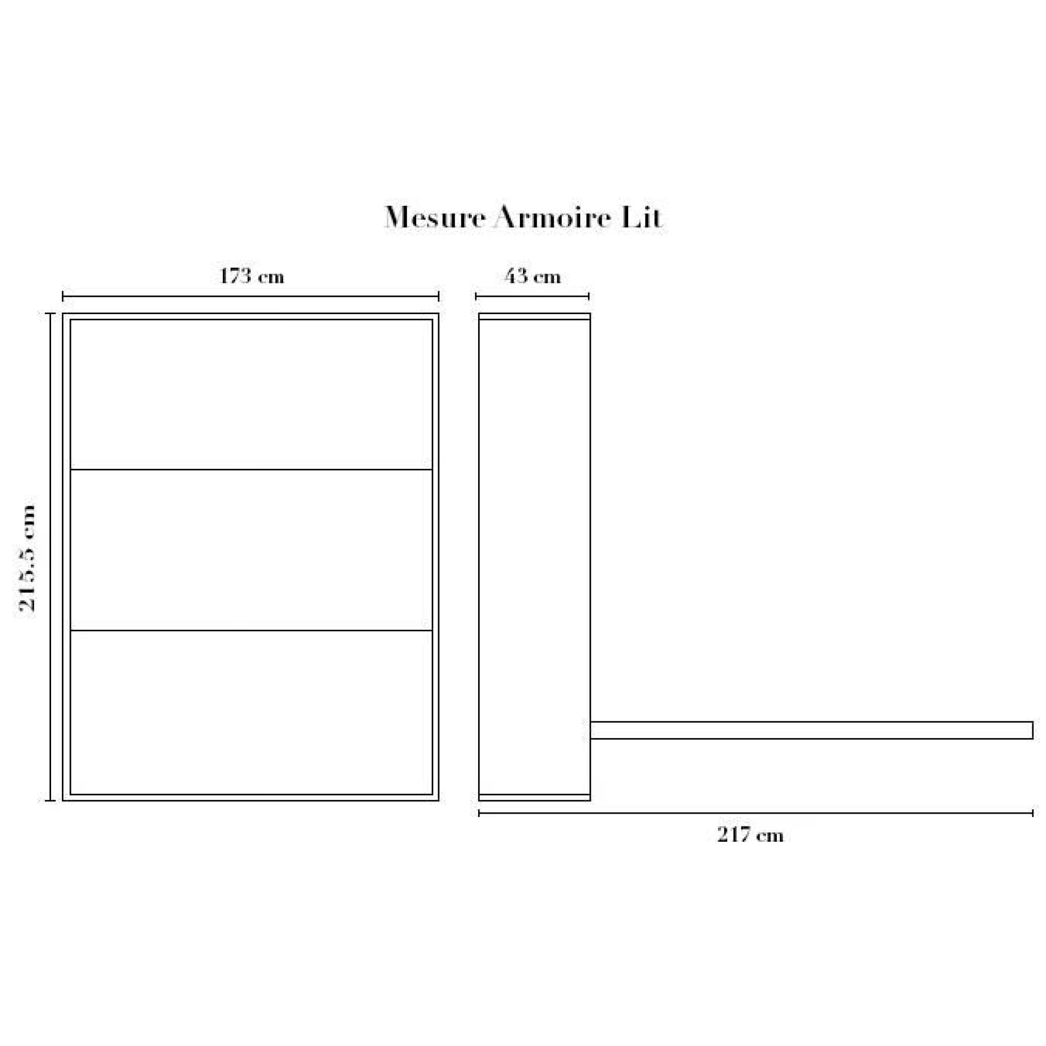 Armoire Lit Escamotable STONE X Gris AchatVente Lit - Lit escamotable 160x200 pas cher