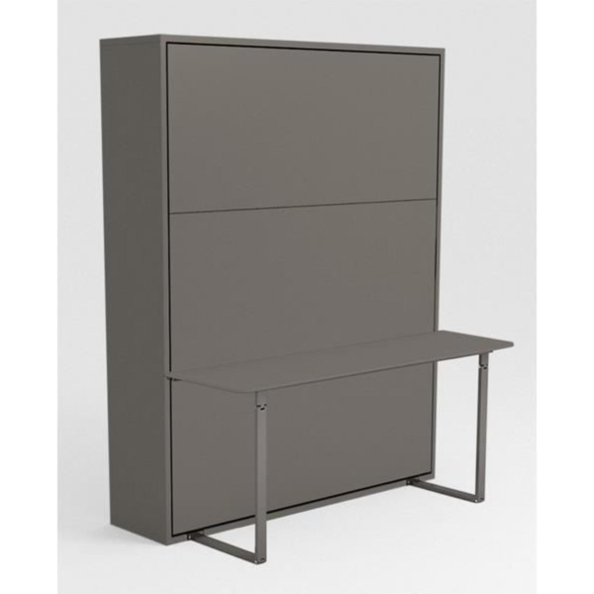 armoire lit escamotable stone 160x200 gris bureau achat. Black Bedroom Furniture Sets. Home Design Ideas