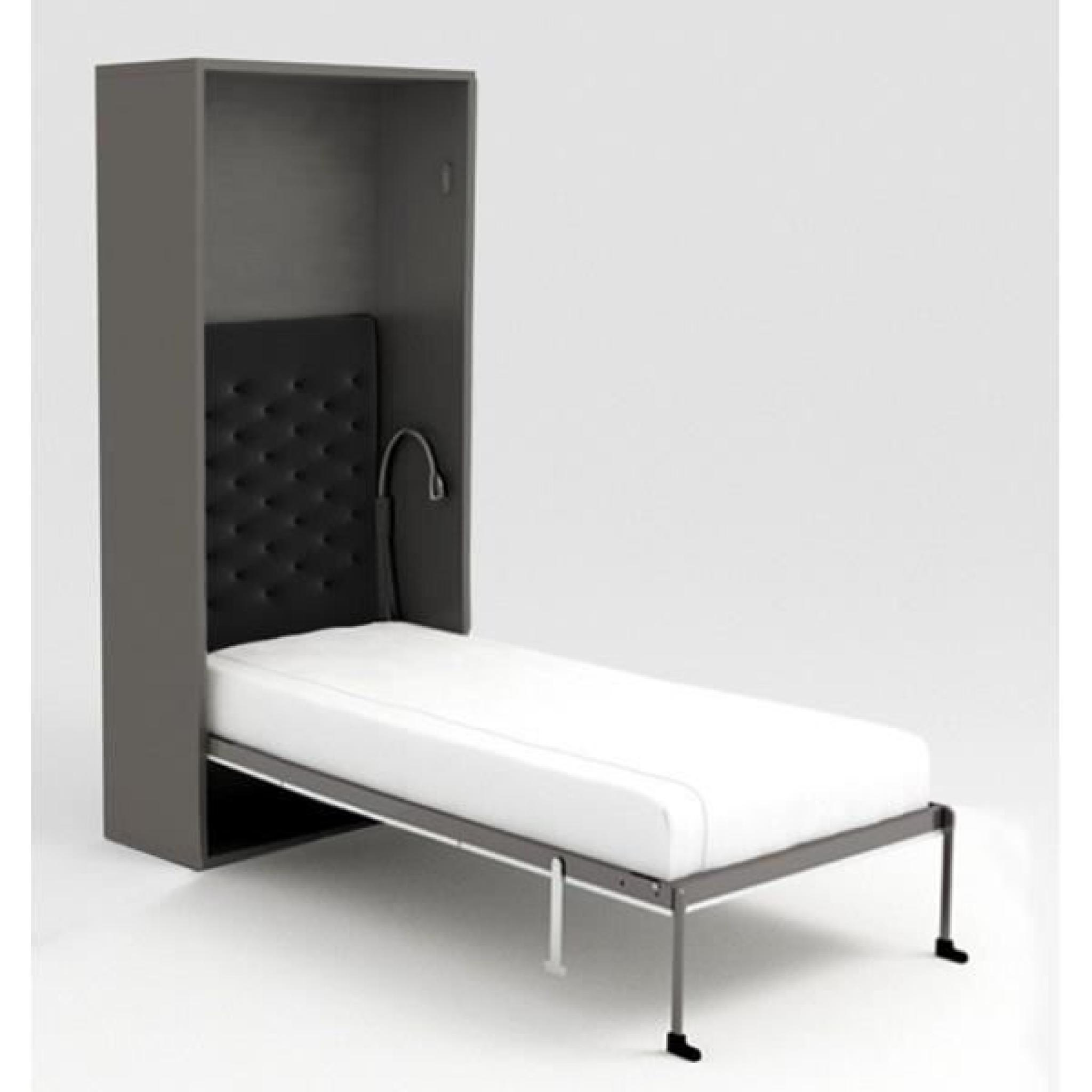armoire lit escamotable stone 90x200 gris achat vente. Black Bedroom Furniture Sets. Home Design Ideas