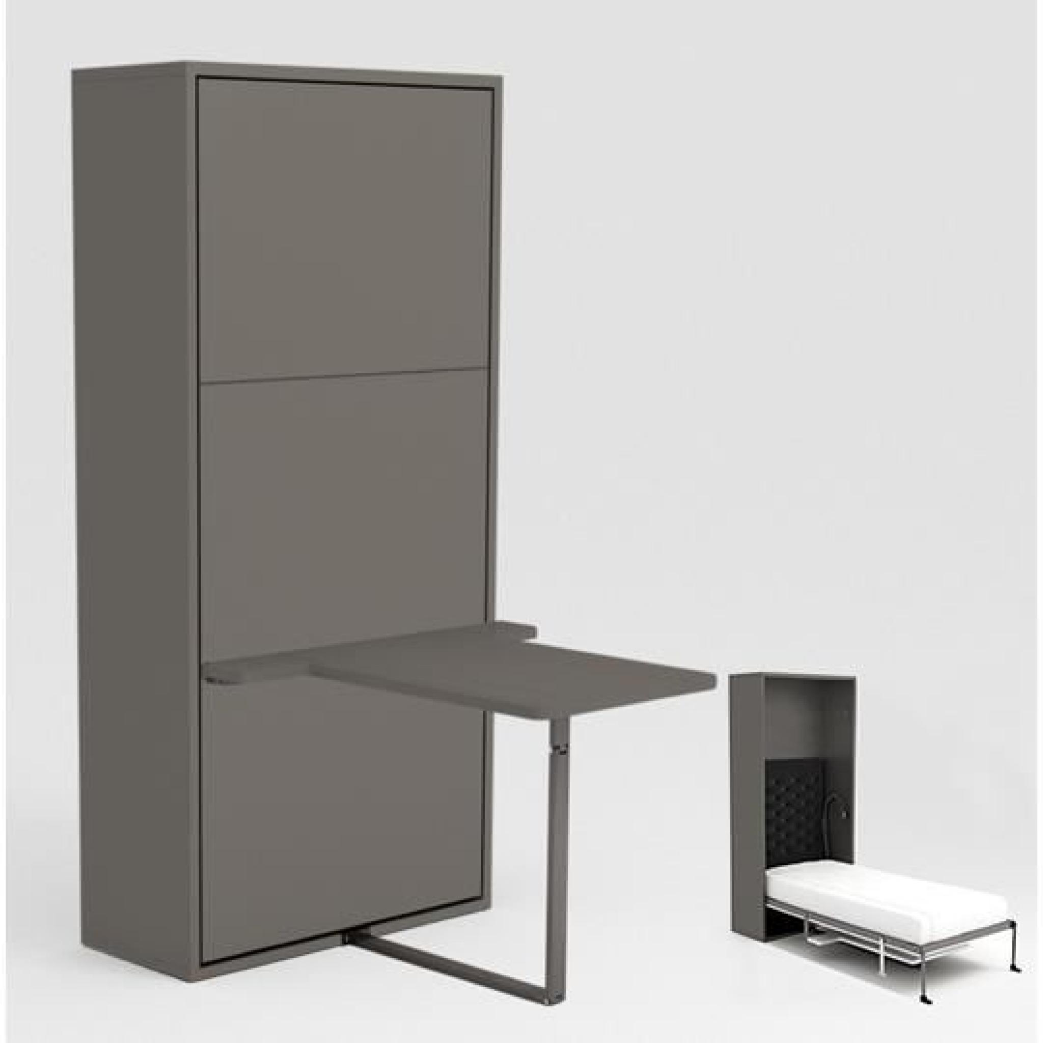 armoire lit escamotable stone 90x200 gris bureau achat. Black Bedroom Furniture Sets. Home Design Ideas