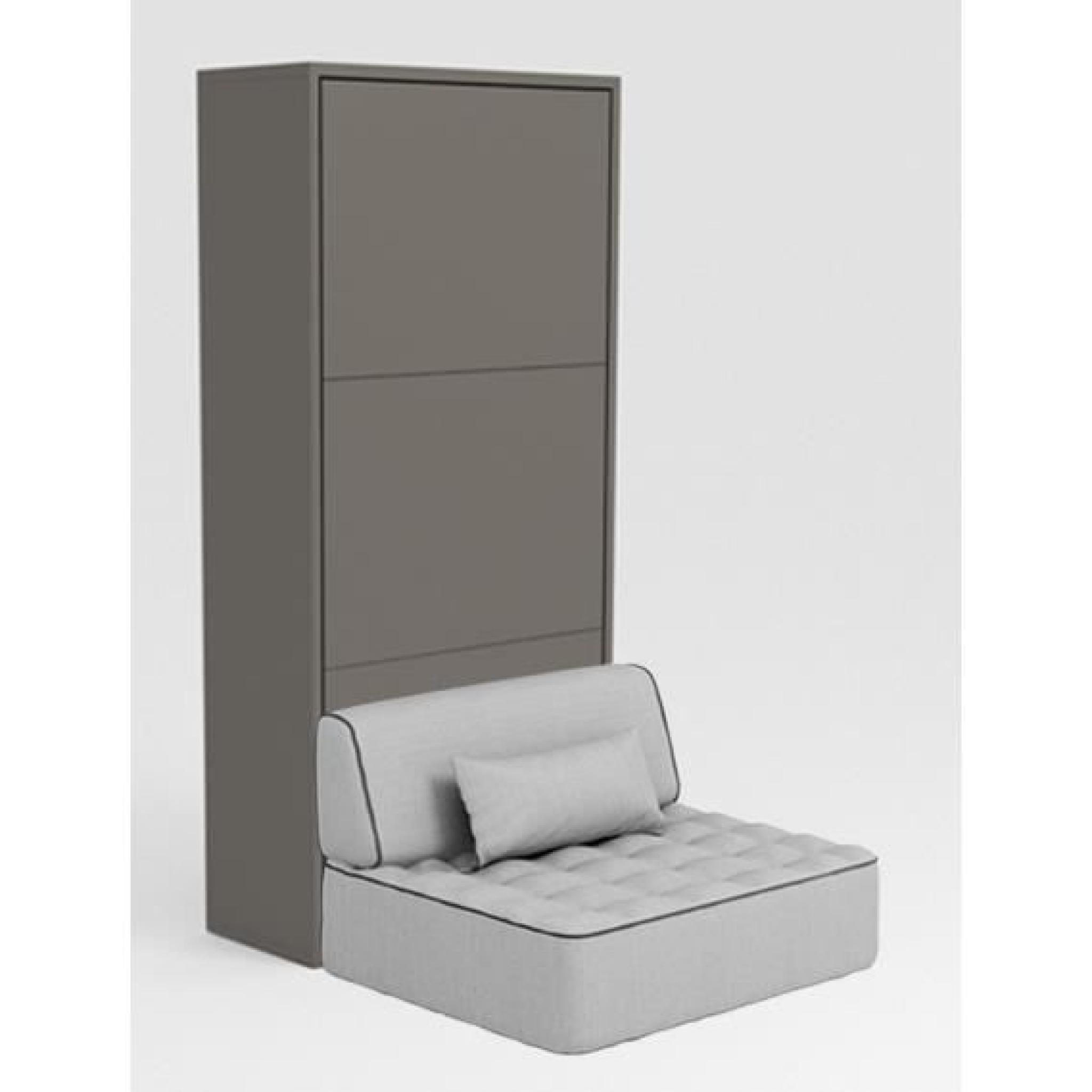 armoire lit escamotable stone 90x200 gris canap achat vente lit escamotable pas cher. Black Bedroom Furniture Sets. Home Design Ideas