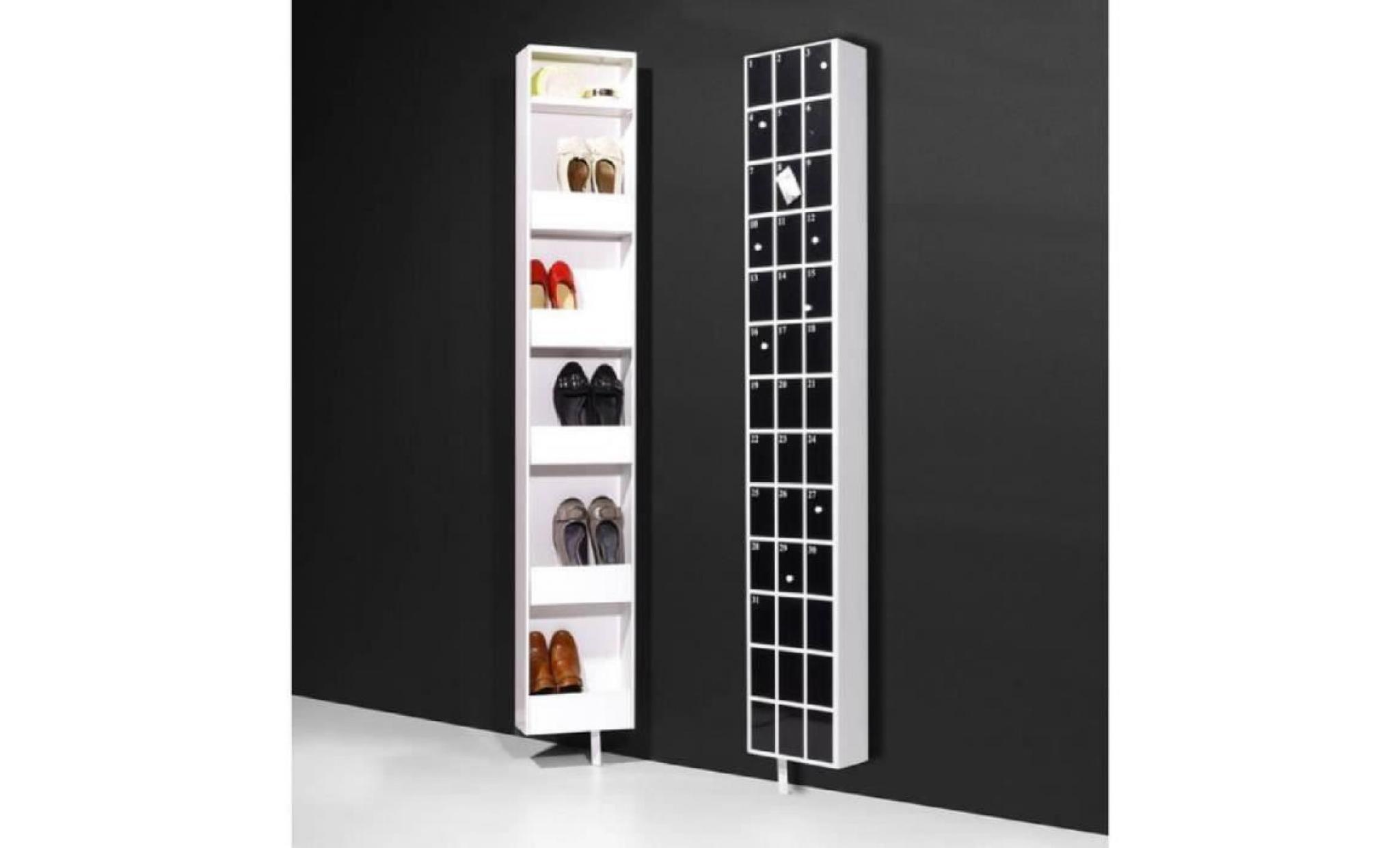 armoire meuble chaussures tournante polyvalente blanc 10. Black Bedroom Furniture Sets. Home Design Ideas