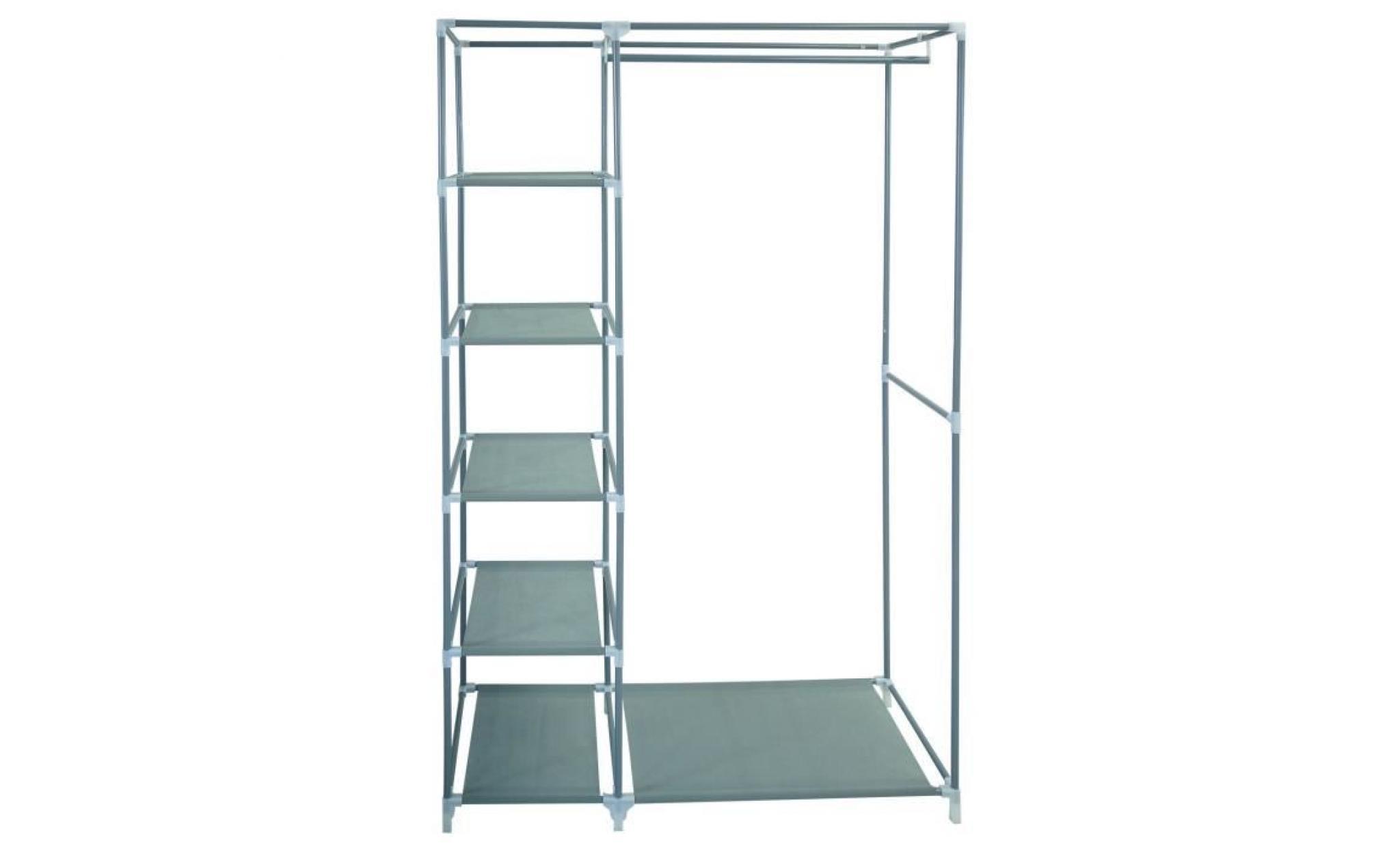 armoire penderie grise en tissu achat vente armoire de. Black Bedroom Furniture Sets. Home Design Ideas