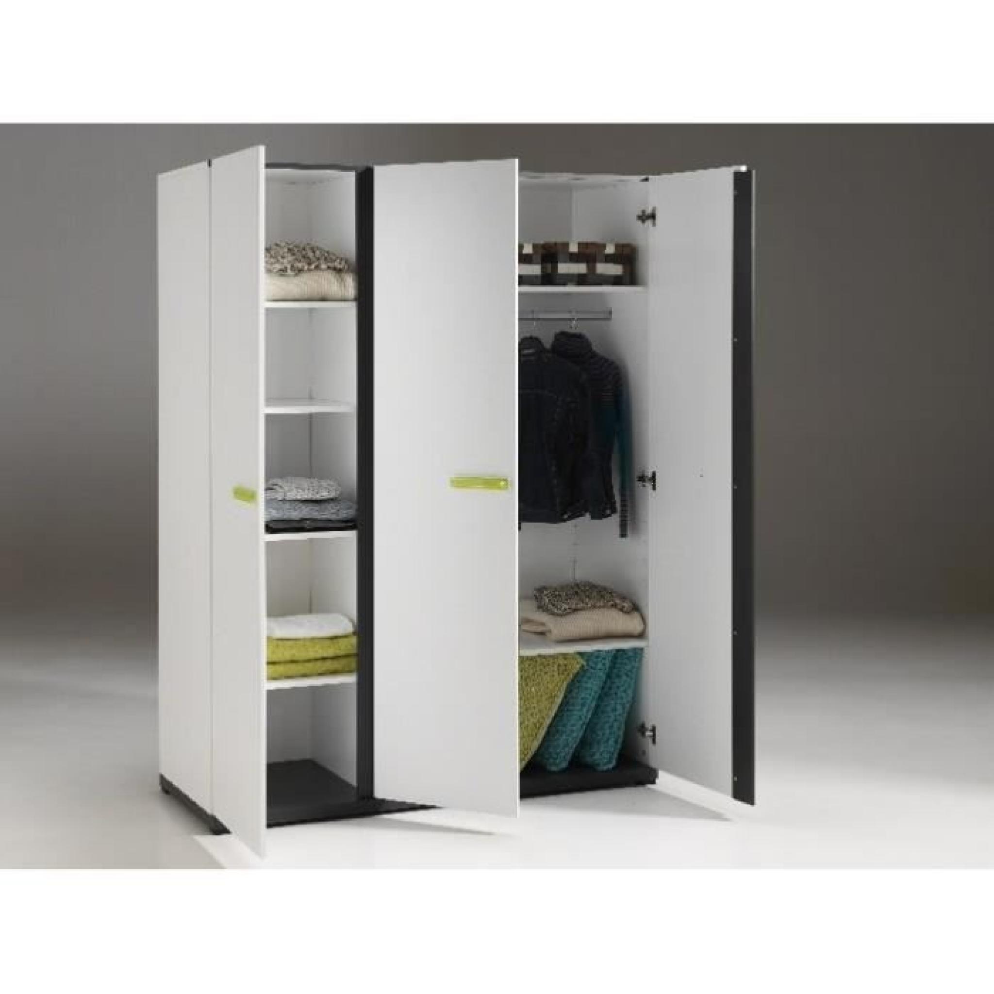 Armoire penderie NIXON 3 portes blanche - Achat/Vente armoire de ...