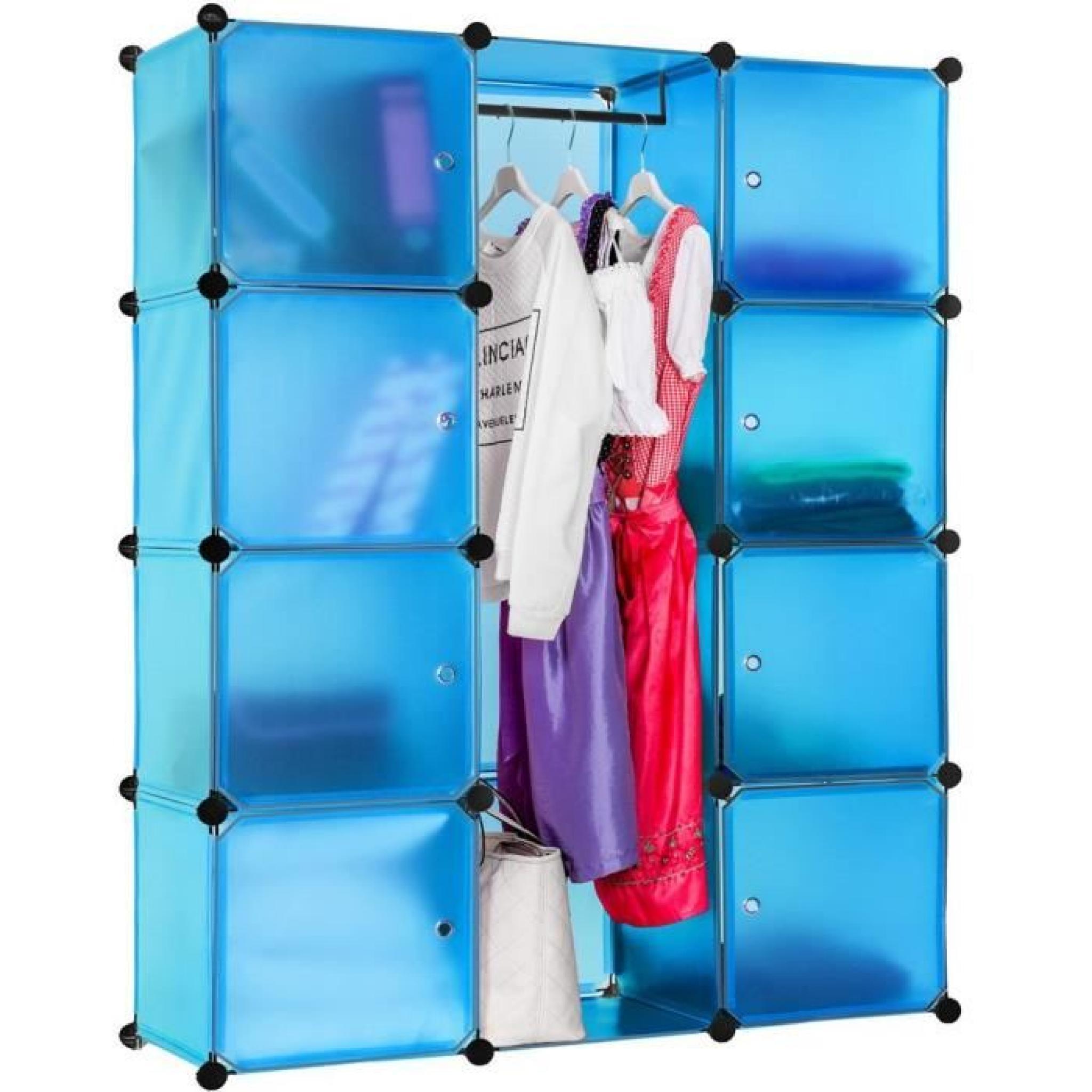 armoire penderie rangement dressing bleu achat vente dressing pas cher couleur et. Black Bedroom Furniture Sets. Home Design Ideas