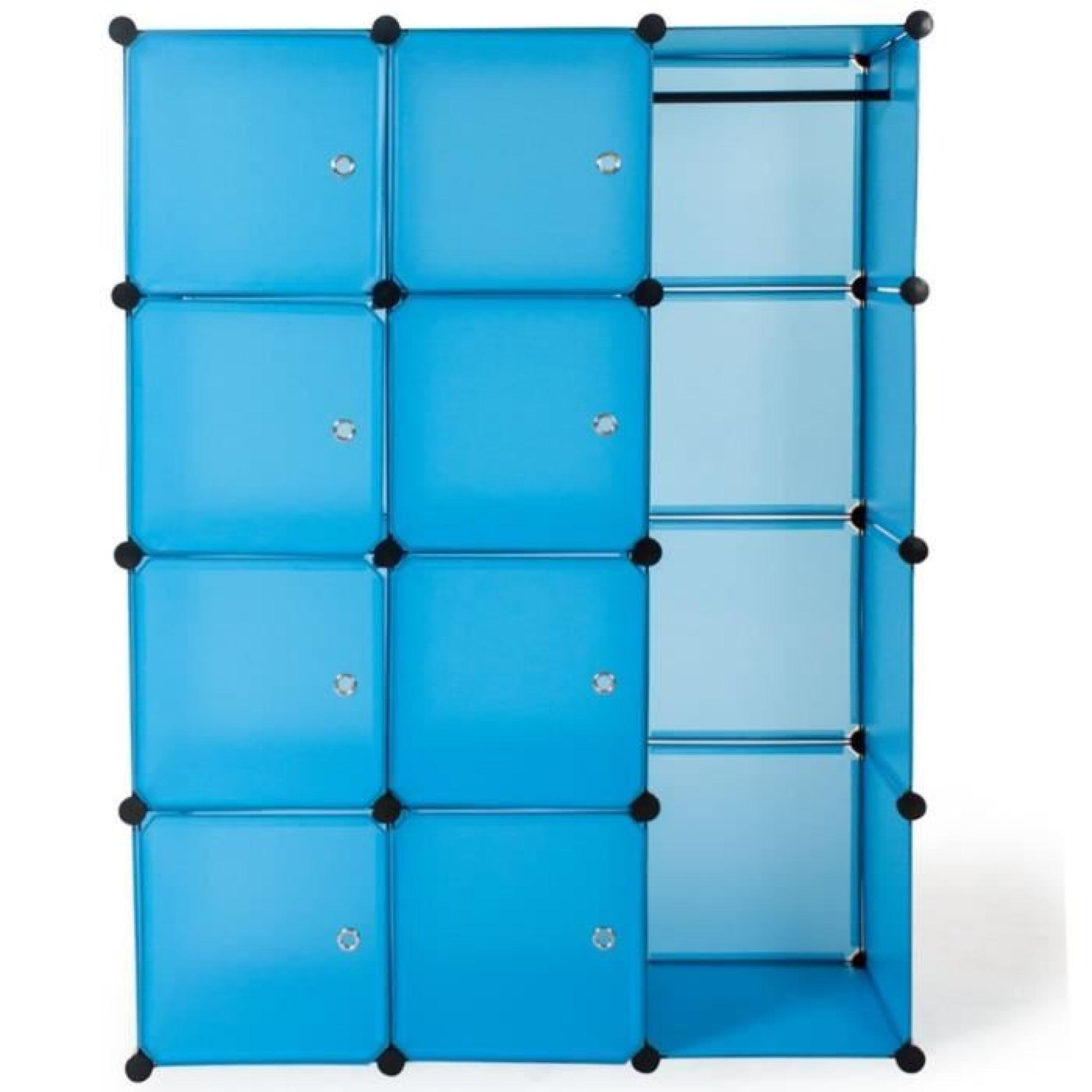 armoire penderie rangement dressing bleu achat vente. Black Bedroom Furniture Sets. Home Design Ideas