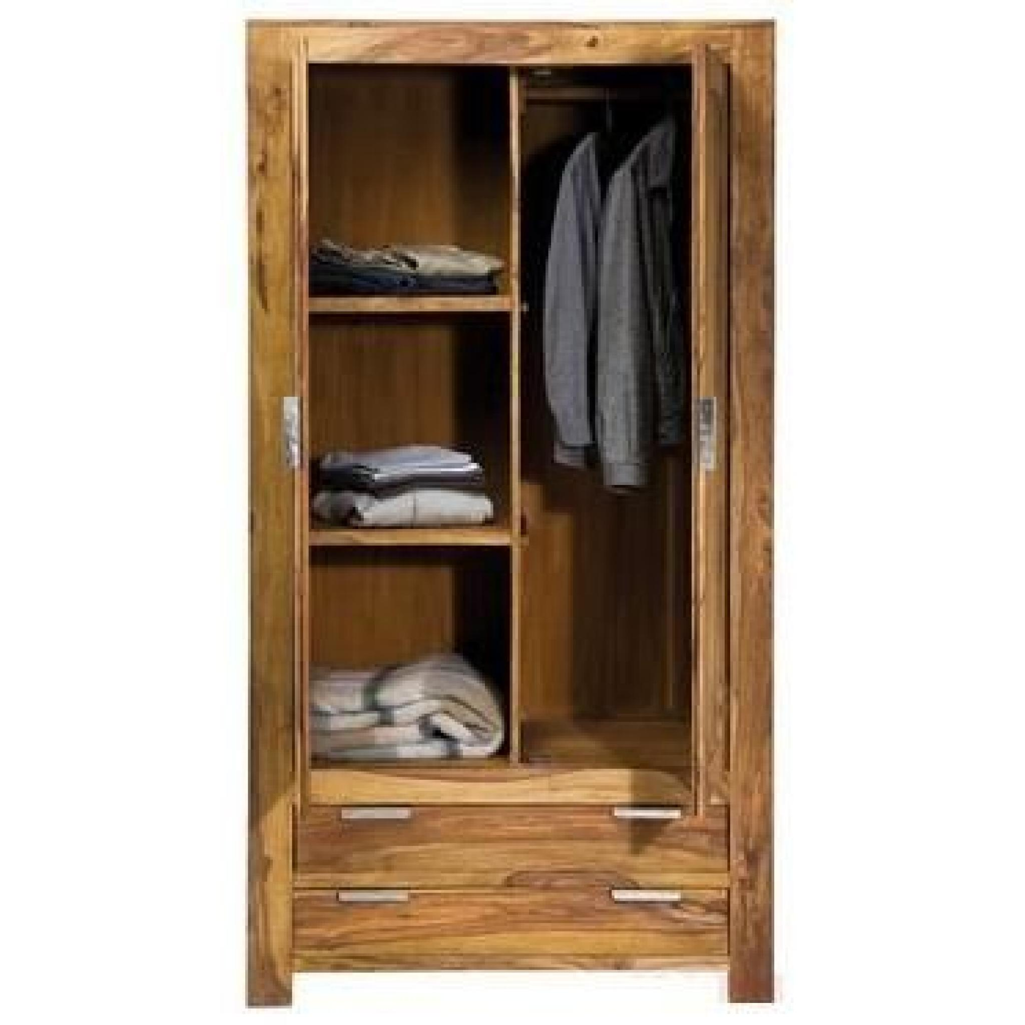 armoire penderie wood 2 portes 2 tiroirs achat vente. Black Bedroom Furniture Sets. Home Design Ideas
