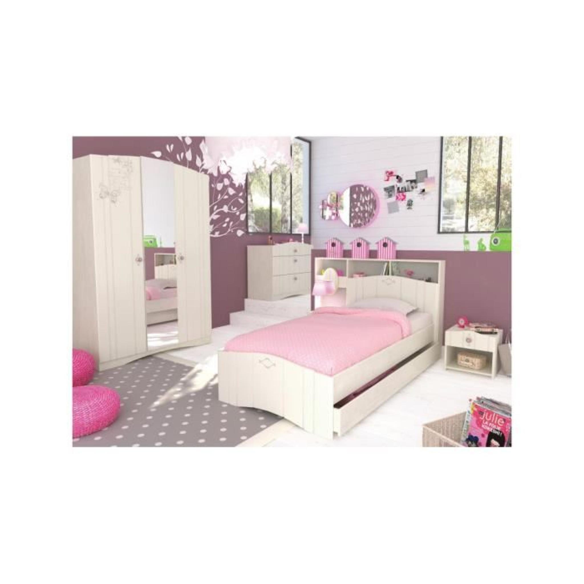 armoire pont de lit enfant blanc cass avec miroir 5 niches 1 tiroir achat vente armoire de. Black Bedroom Furniture Sets. Home Design Ideas