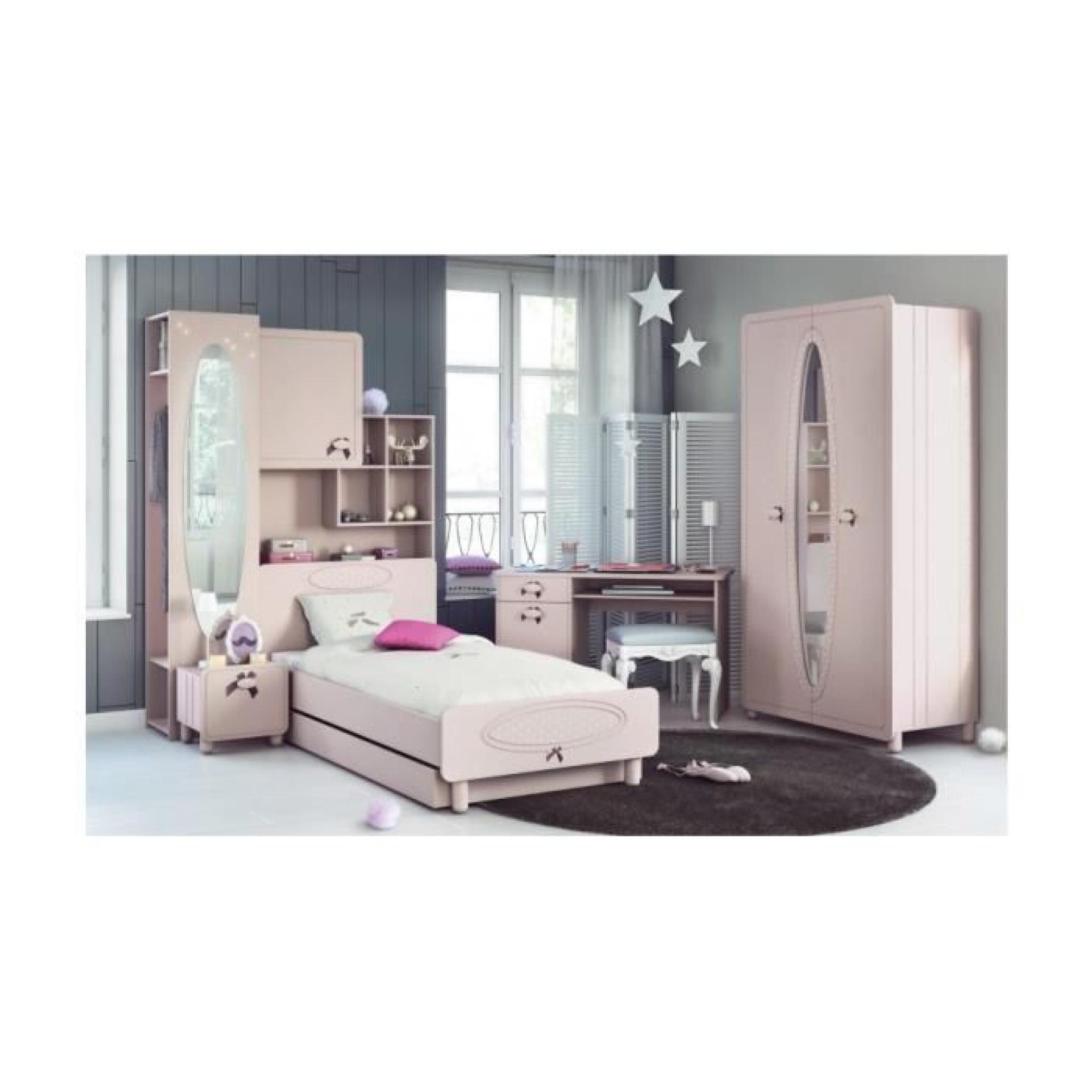 armoire pont de lit enfant rose avec miroir 1 porte 5. Black Bedroom Furniture Sets. Home Design Ideas