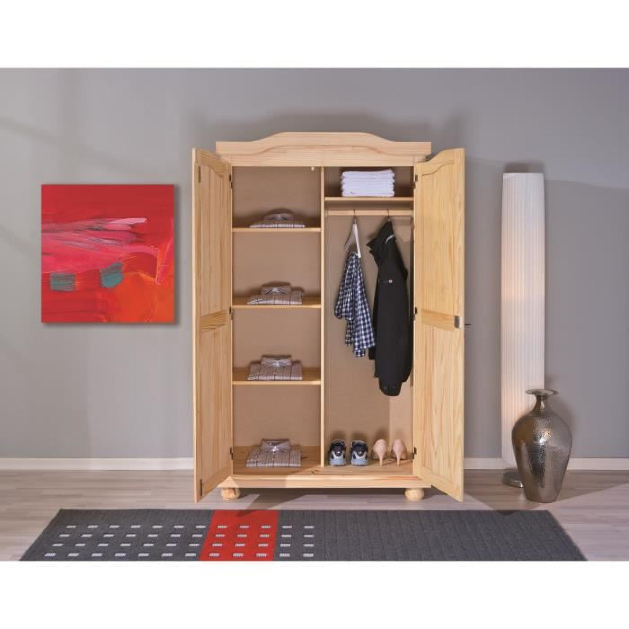 armoire rustique 2 portes en bois massif achat vente. Black Bedroom Furniture Sets. Home Design Ideas