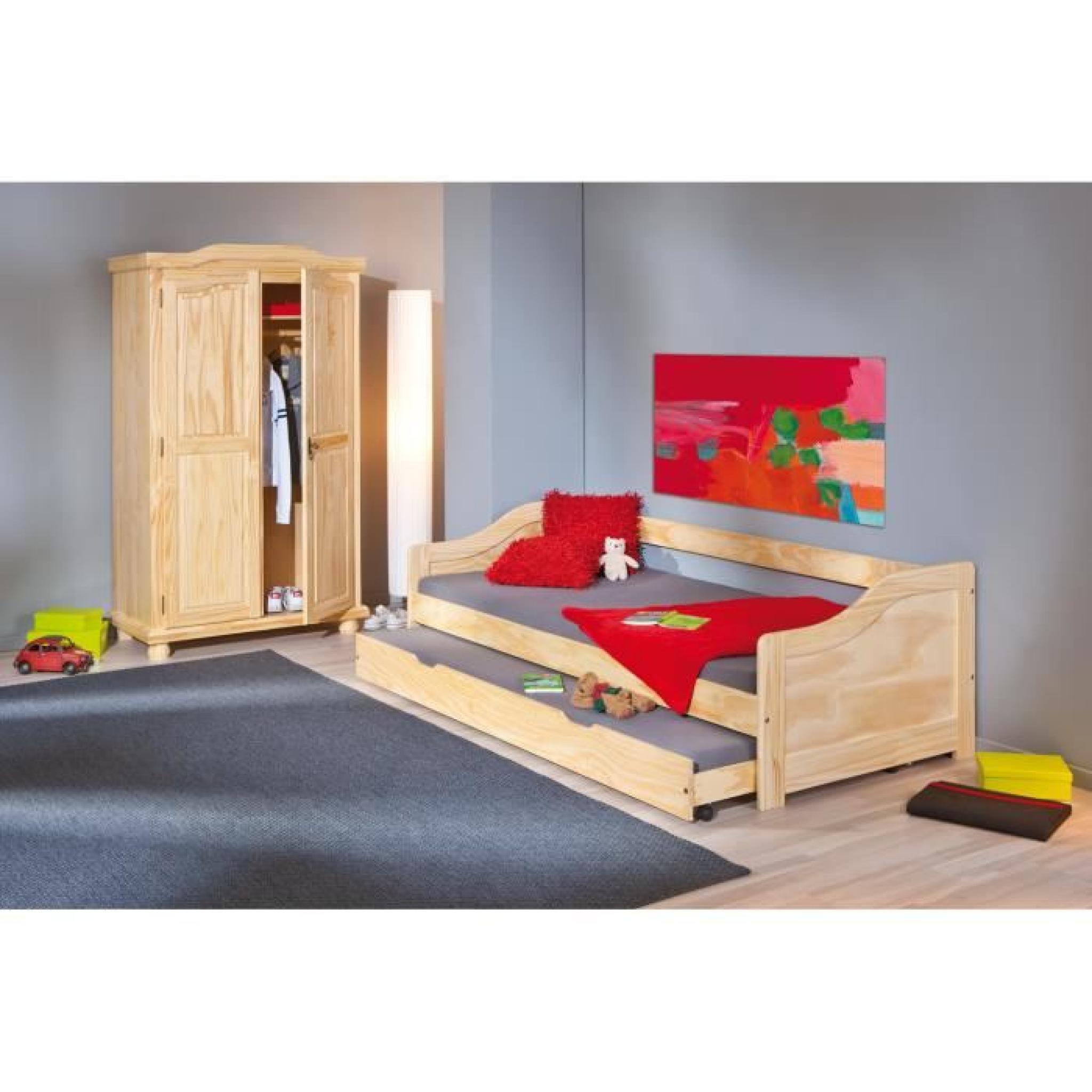 armoire rustique 2 portes en bois massif achat vente armoire de chambre pas cher couleur. Black Bedroom Furniture Sets. Home Design Ideas