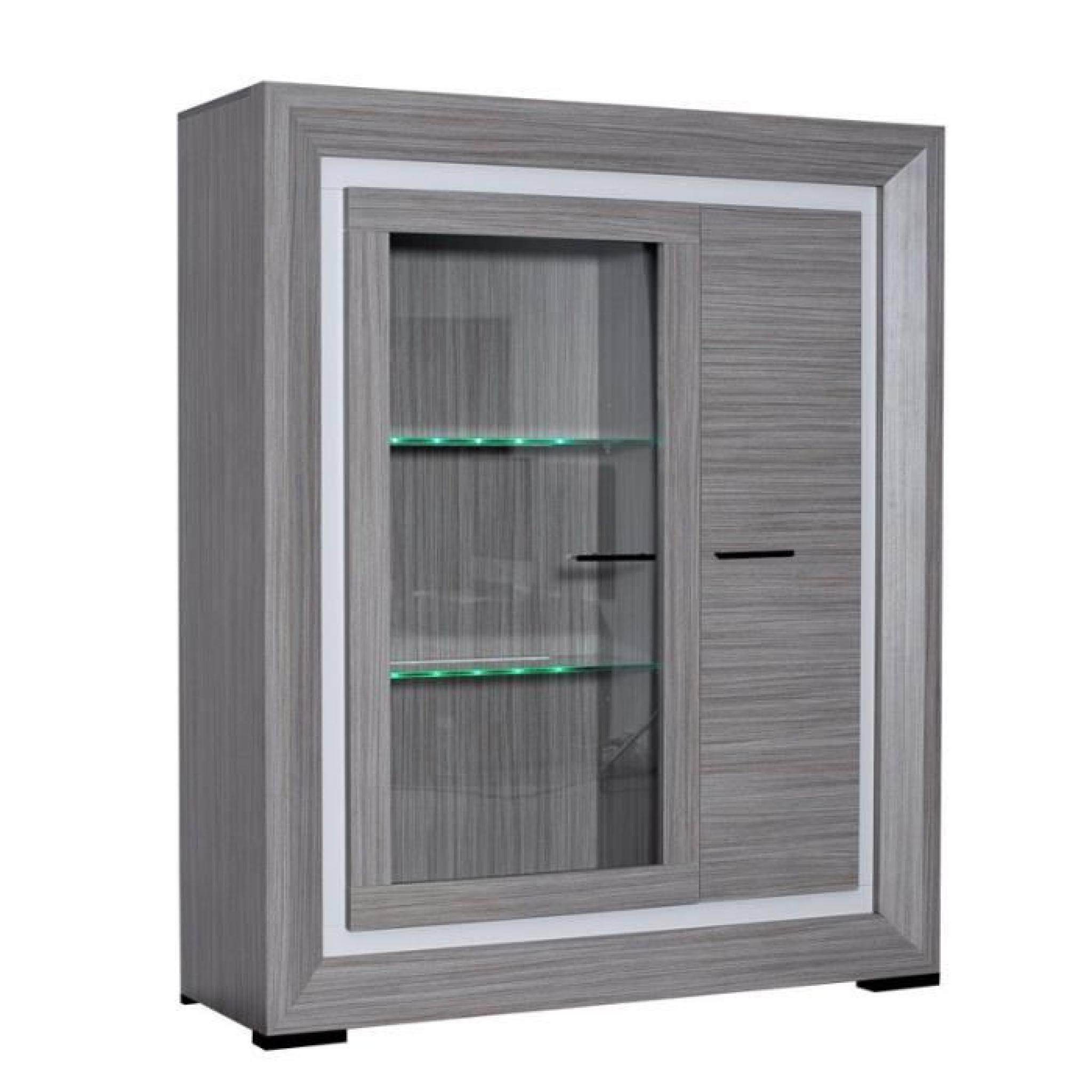 armoire vitrine de salon teck cendr alyne achat vente buffet pas cher couleur et. Black Bedroom Furniture Sets. Home Design Ideas