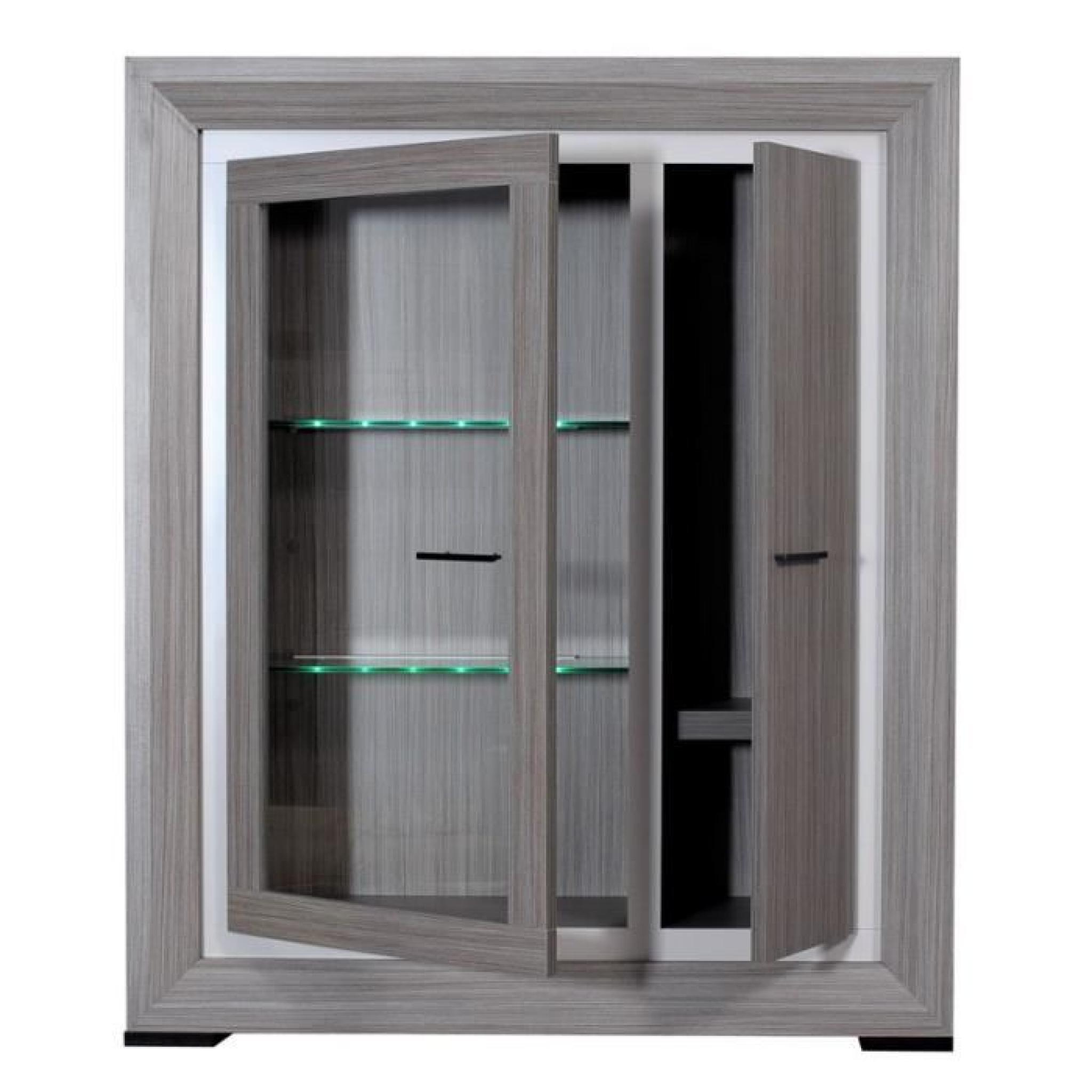 armoire vitrine de salon teck cendr alyne achat vente. Black Bedroom Furniture Sets. Home Design Ideas