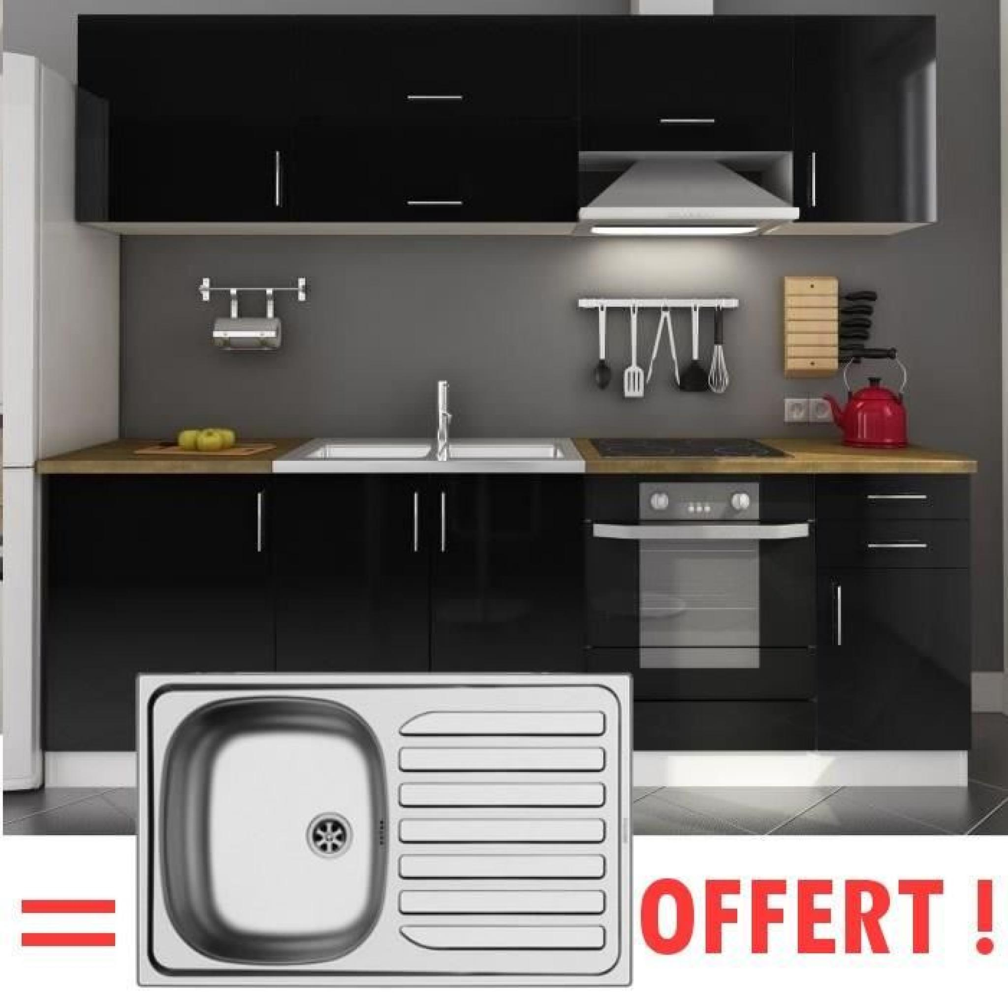 arty cuisine compl te 2m40 vier offert laqu noir achat vente cuisine complete pas cher. Black Bedroom Furniture Sets. Home Design Ideas