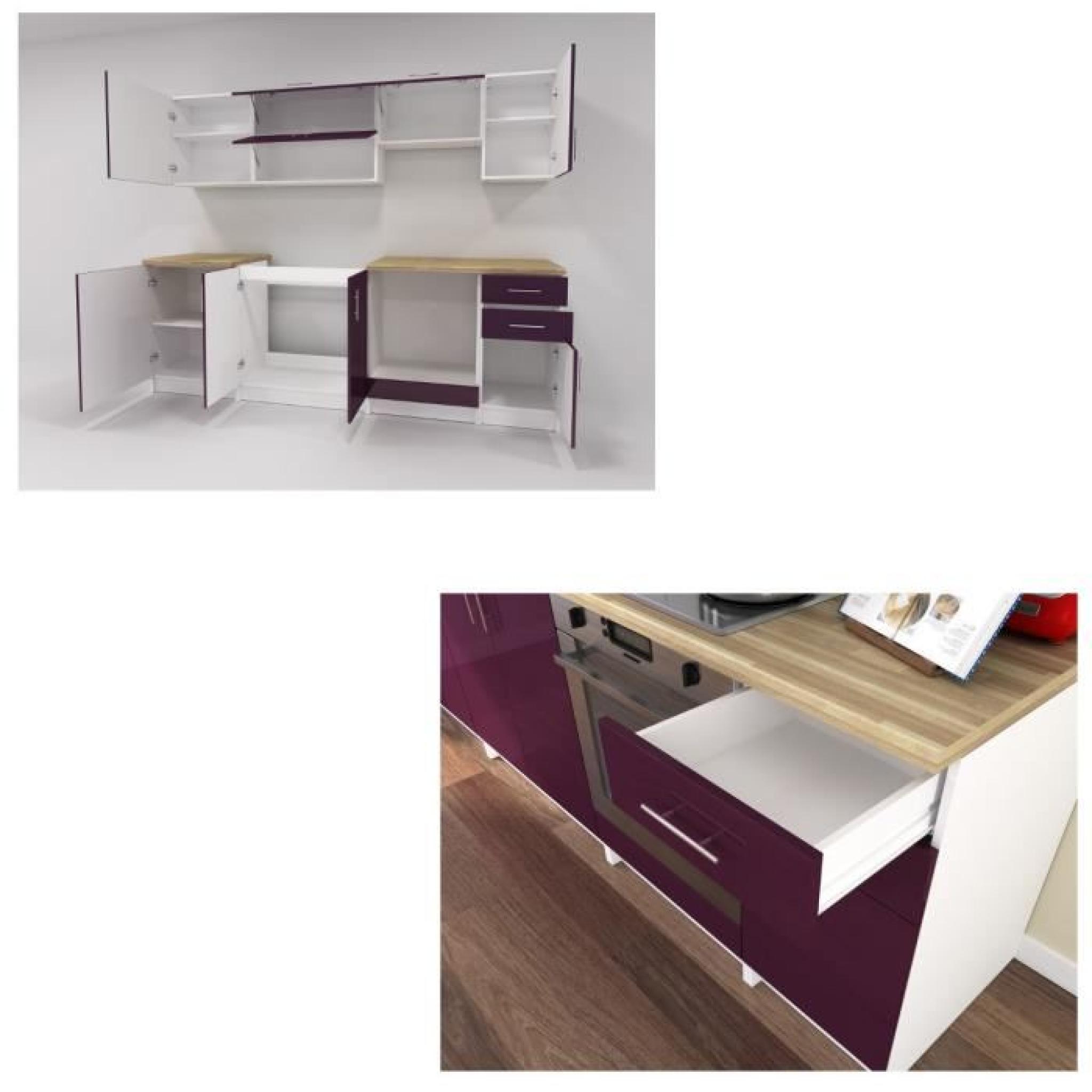 arty cuisine compl te 2m40 laqu aubergine haute brillance achat vente cuisine complete pas. Black Bedroom Furniture Sets. Home Design Ideas