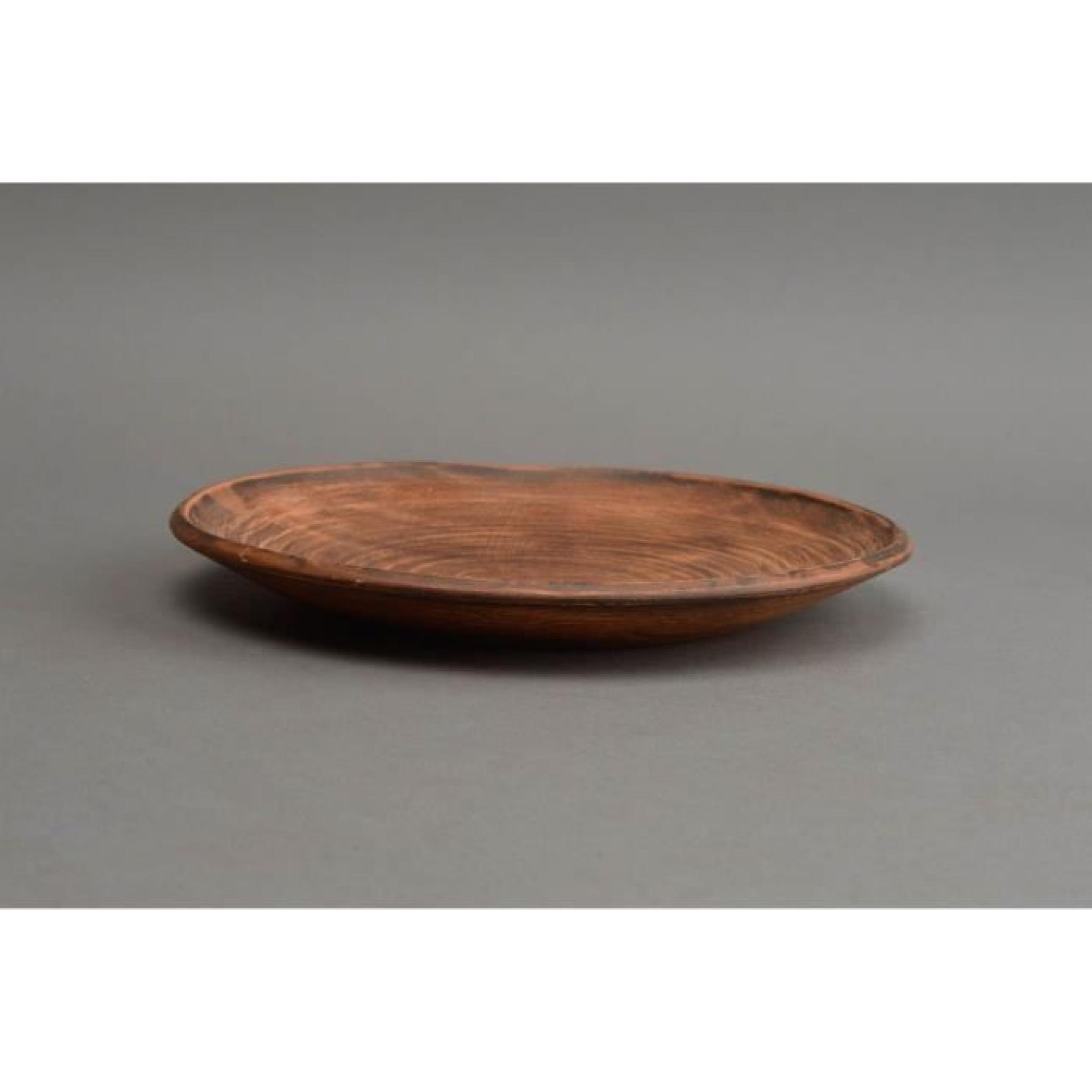Assiette plate en terre cuite ronde grande marron achat vente meuble tv pas cher couleur et - Grande tv pas cher ...