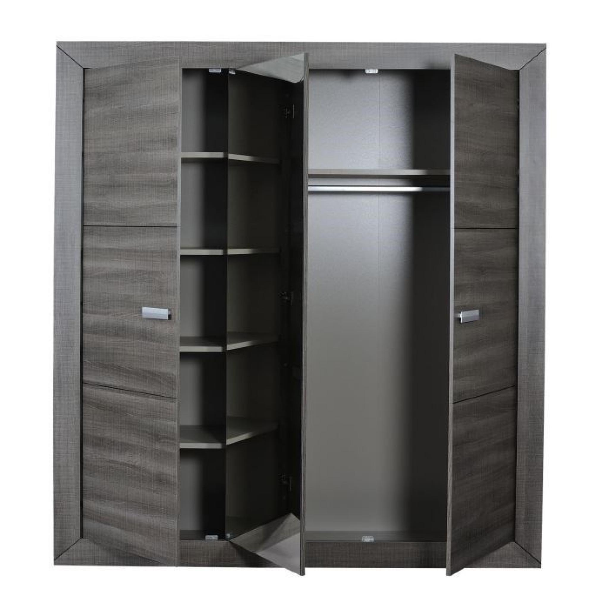 Avignon armoire 3 portes coloris bois gris achat vente armoire de chambre p - Armoire bois pas cher ...