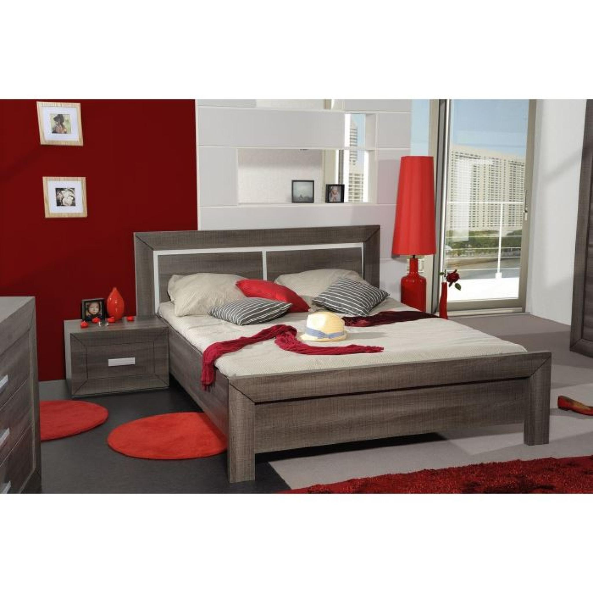 avignon lit adulte 140 x 190 cm coloris bois gris achat. Black Bedroom Furniture Sets. Home Design Ideas