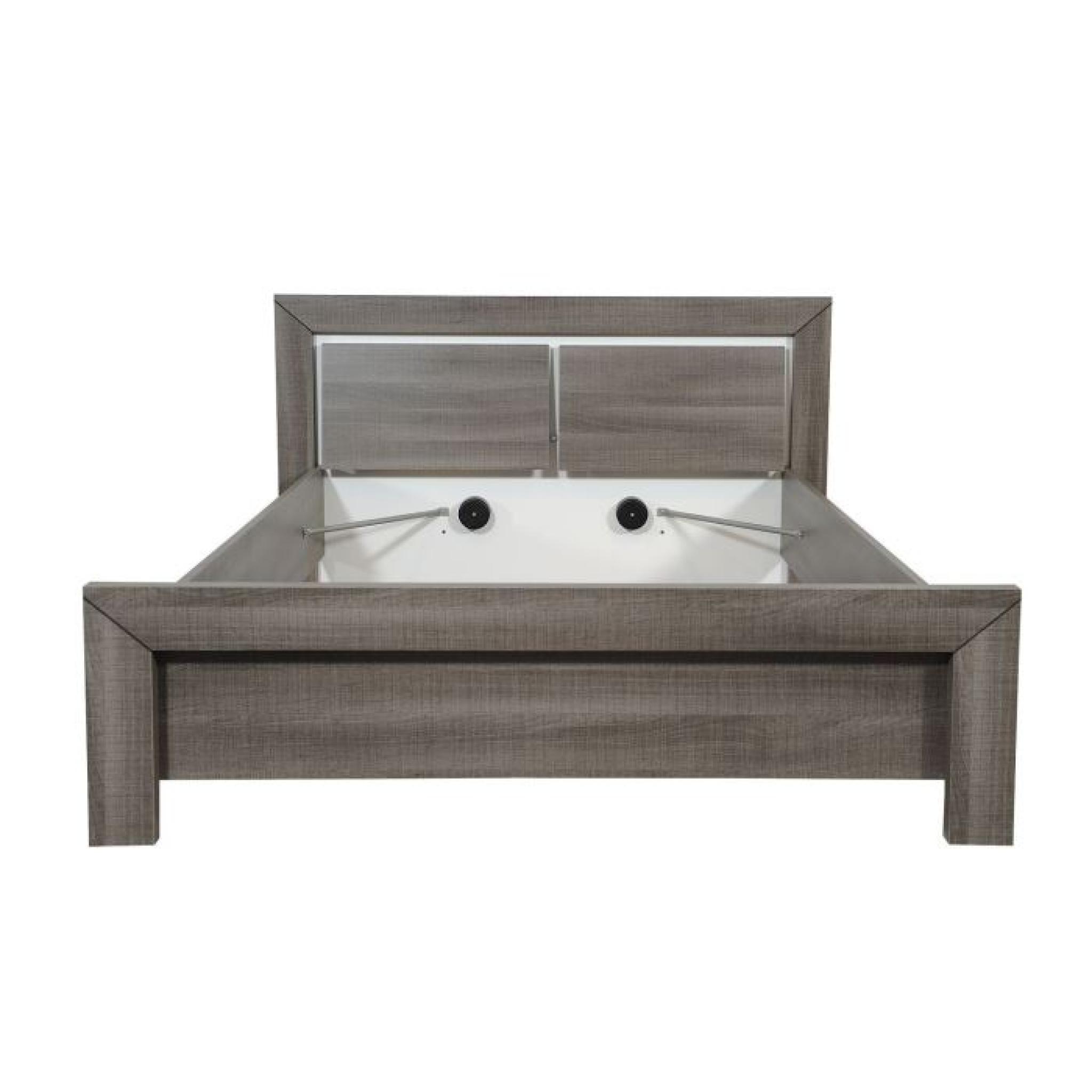 avignon lit adulte 160 x 200 cm coloris bois gris achat vente lit pas cher couleur et. Black Bedroom Furniture Sets. Home Design Ideas