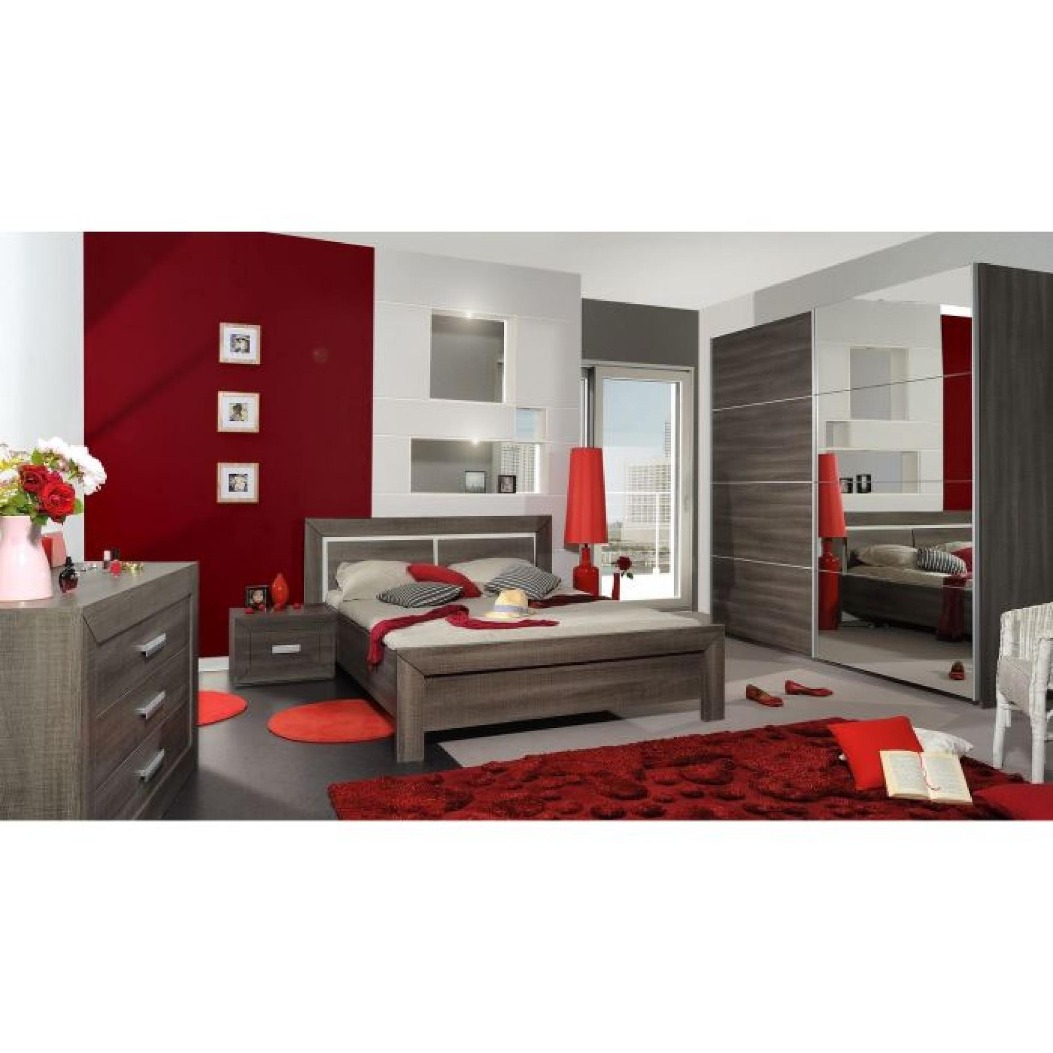avignon lit adulte 160 x 200 cm coloris bois gris achat. Black Bedroom Furniture Sets. Home Design Ideas