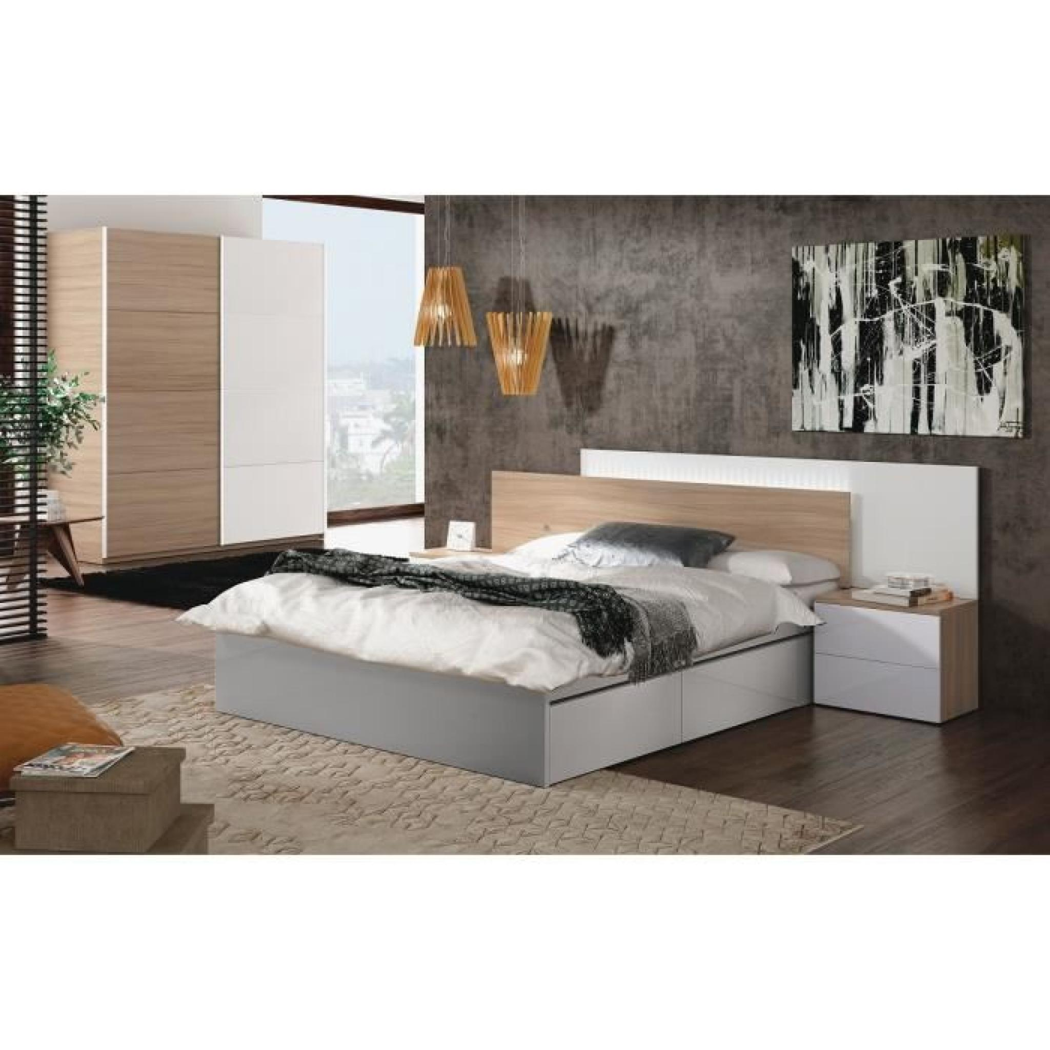 avina t te de lit avec led 258 cm 2 chevets blanc brillant et d cor bois achat vente tete. Black Bedroom Furniture Sets. Home Design Ideas