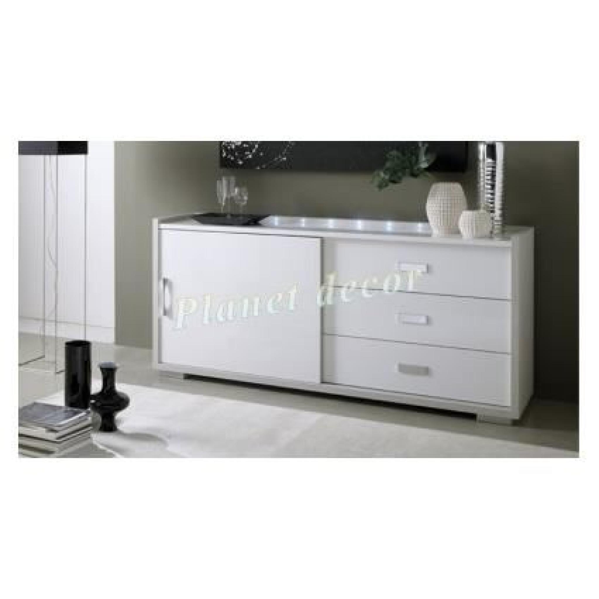 bahut 1 portes coulissante 3 tiroirs model rudy sans led achat vente buffet pas cher. Black Bedroom Furniture Sets. Home Design Ideas