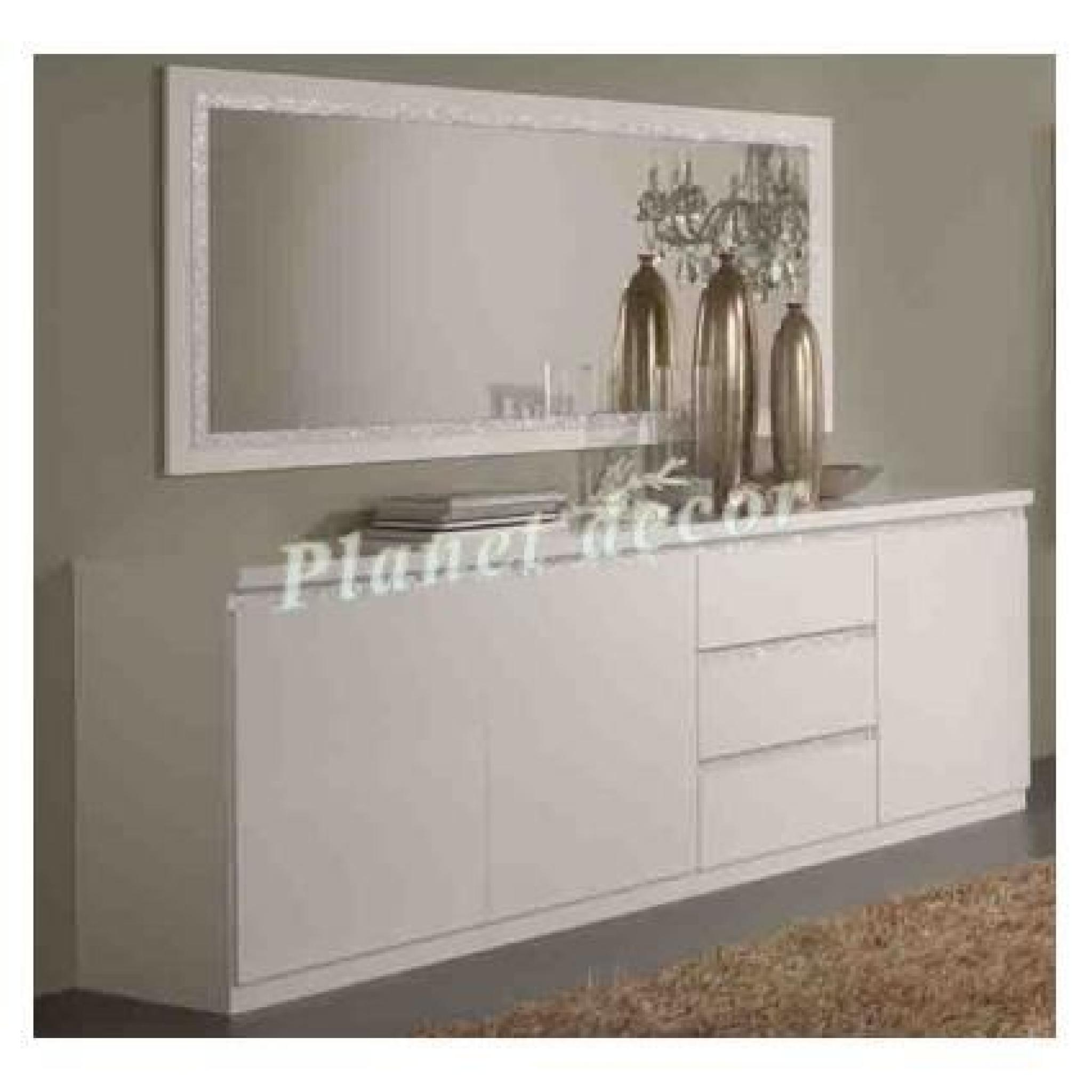 bahut 3 portes 3 tiroirs cromo laqu blanc sans miroir. Black Bedroom Furniture Sets. Home Design Ideas